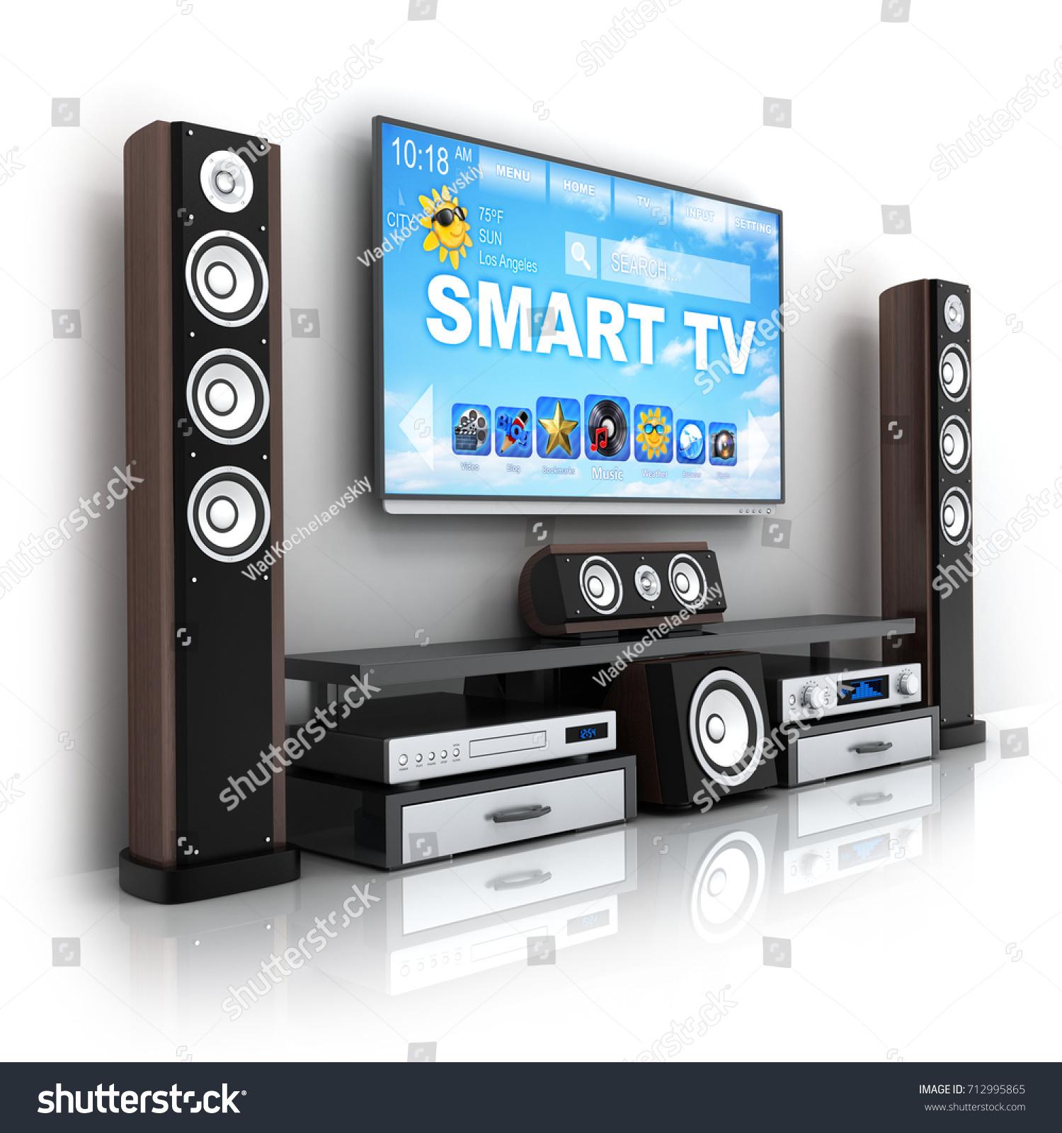 smart tv hifi homecinema modern 3d stock illustration. Black Bedroom Furniture Sets. Home Design Ideas