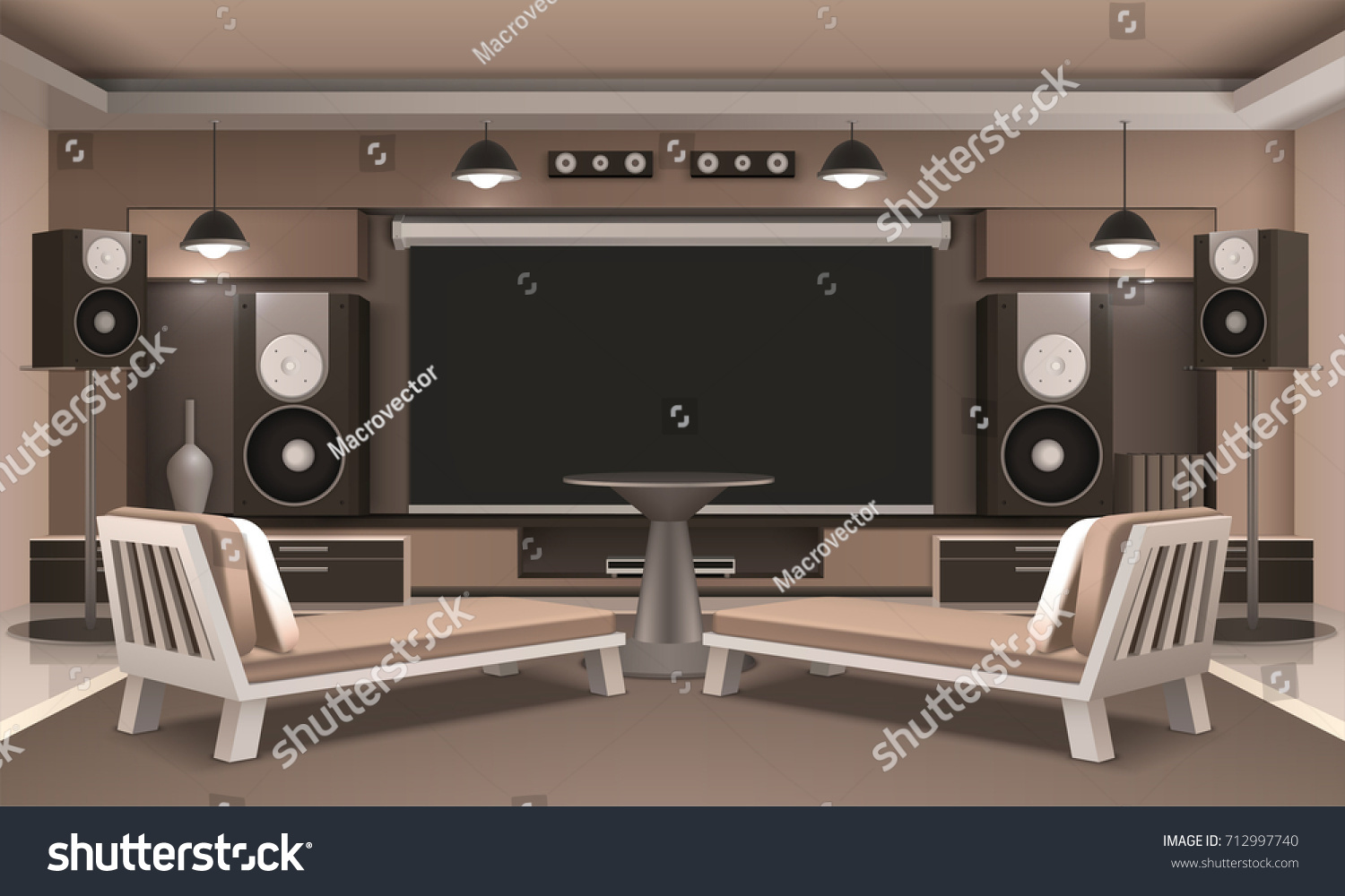Modern Home Cinema Interior Acoustic System Stock Vector 712997740 ...