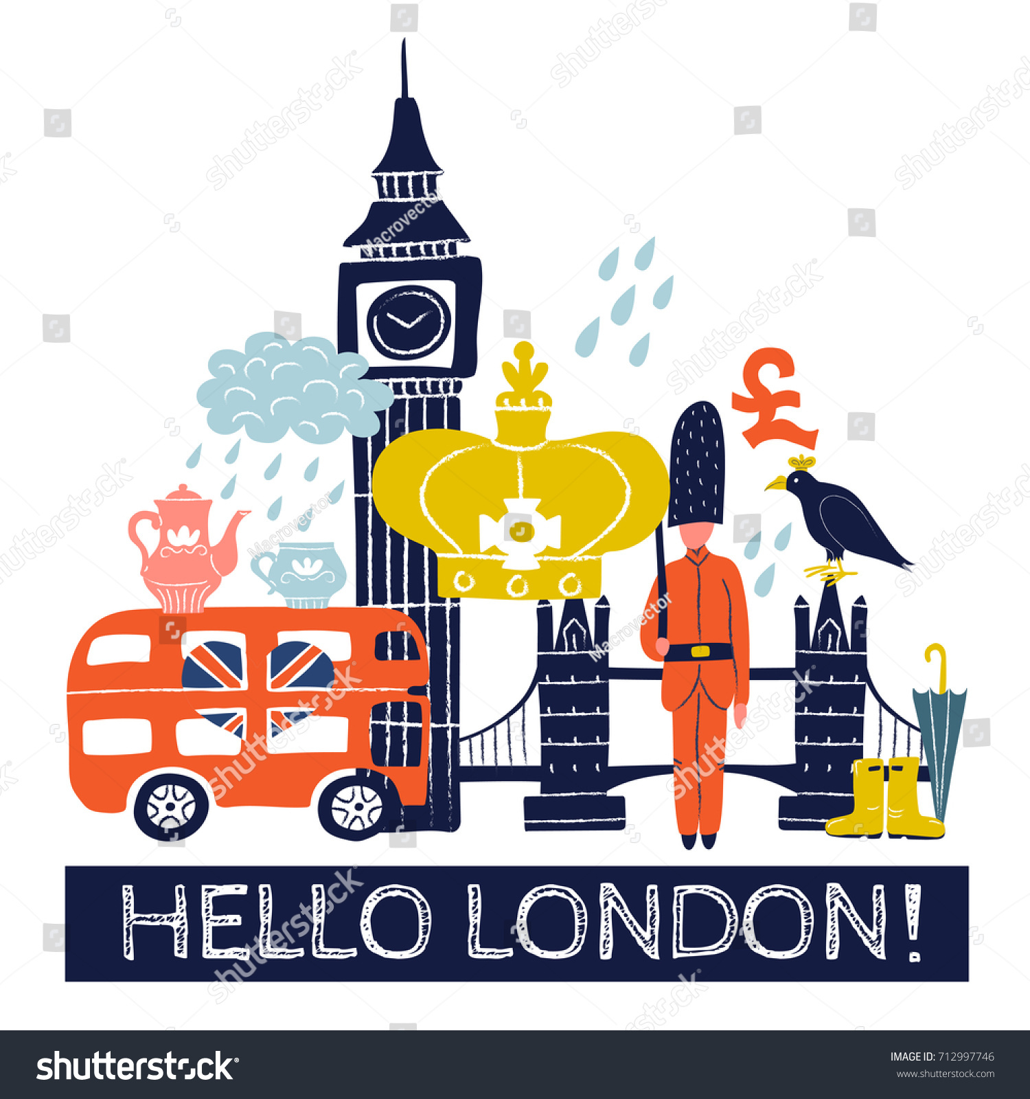 Tourist london poster royal crown pound stock vector 712997746 tourist london poster with royal crown pound sign double decker bus tower bridge buycottarizona Images