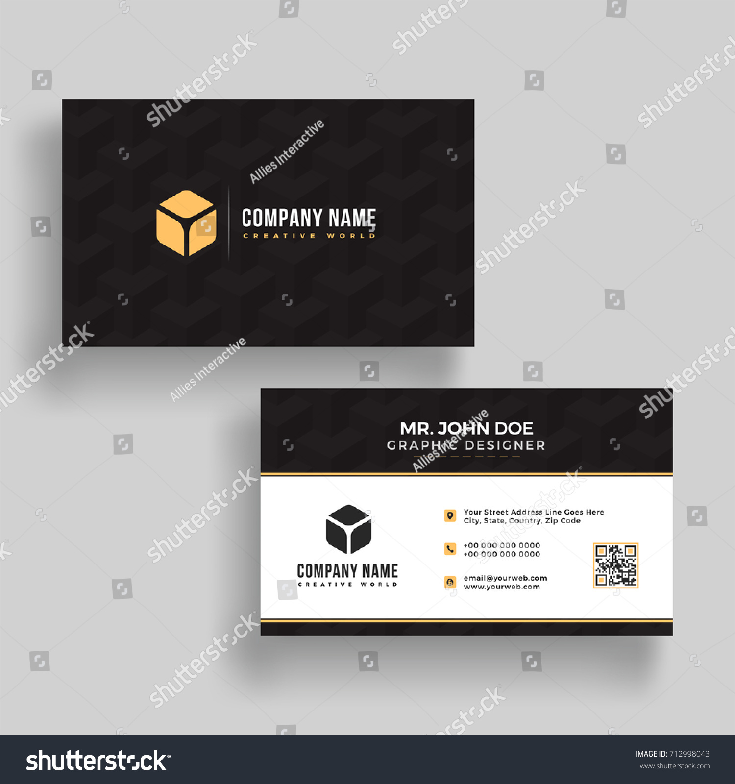 Horizontal Business Card Front Back Presentation Stock Vector HD ...