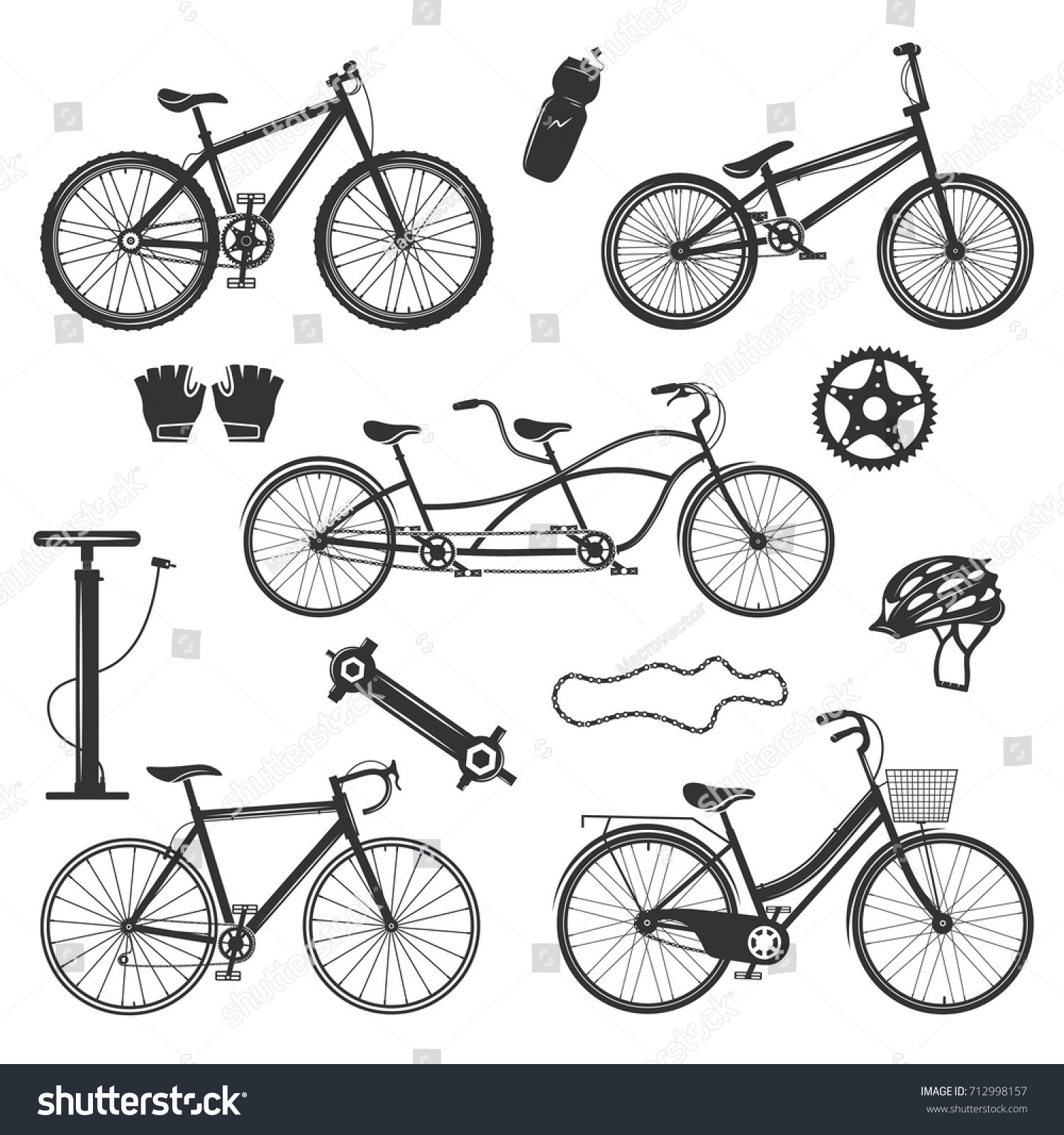 Bicycle Vintage Elements Collection Isolated Silhouette Stock