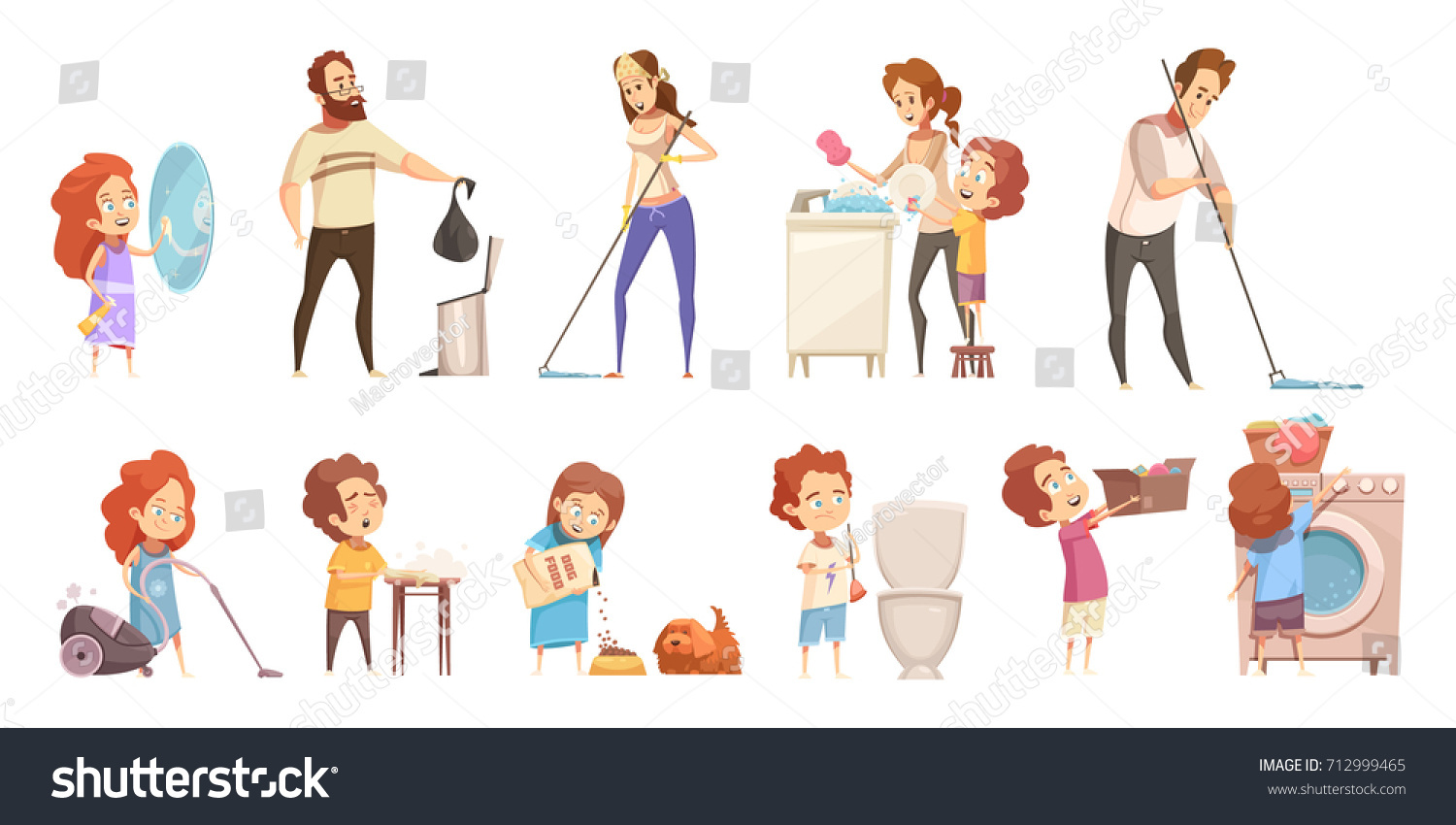 kids helping parents household chores retro stock vector royalty