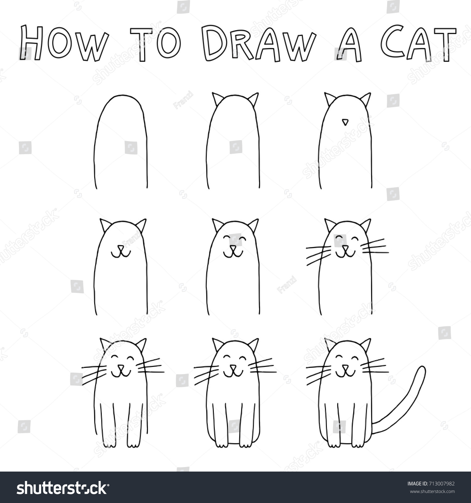 Drawing Tutorial Children How Draw Cat Stock Vector Royalty Free