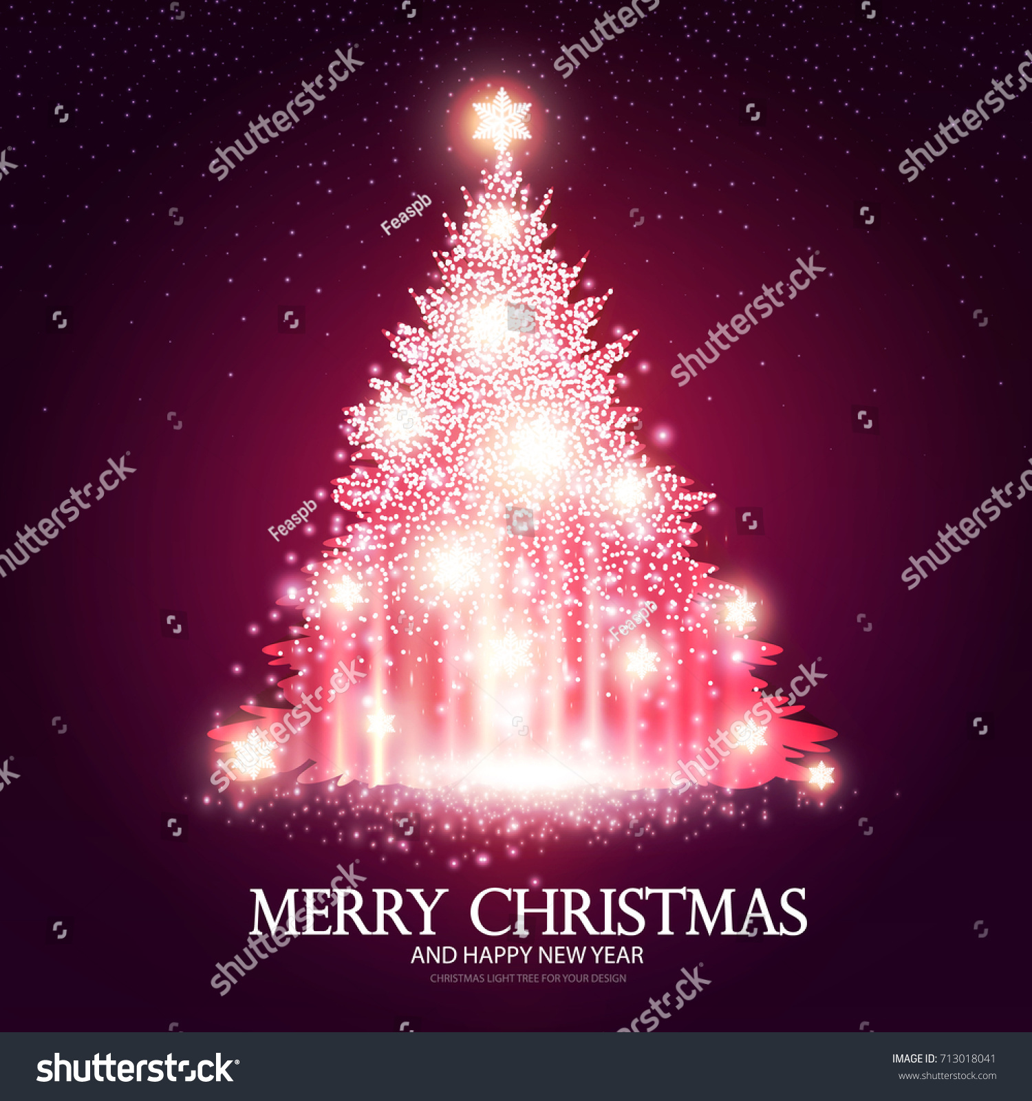 shining pink christmas tree on blue background with light effects vector illustration - Light Pink Christmas Tree