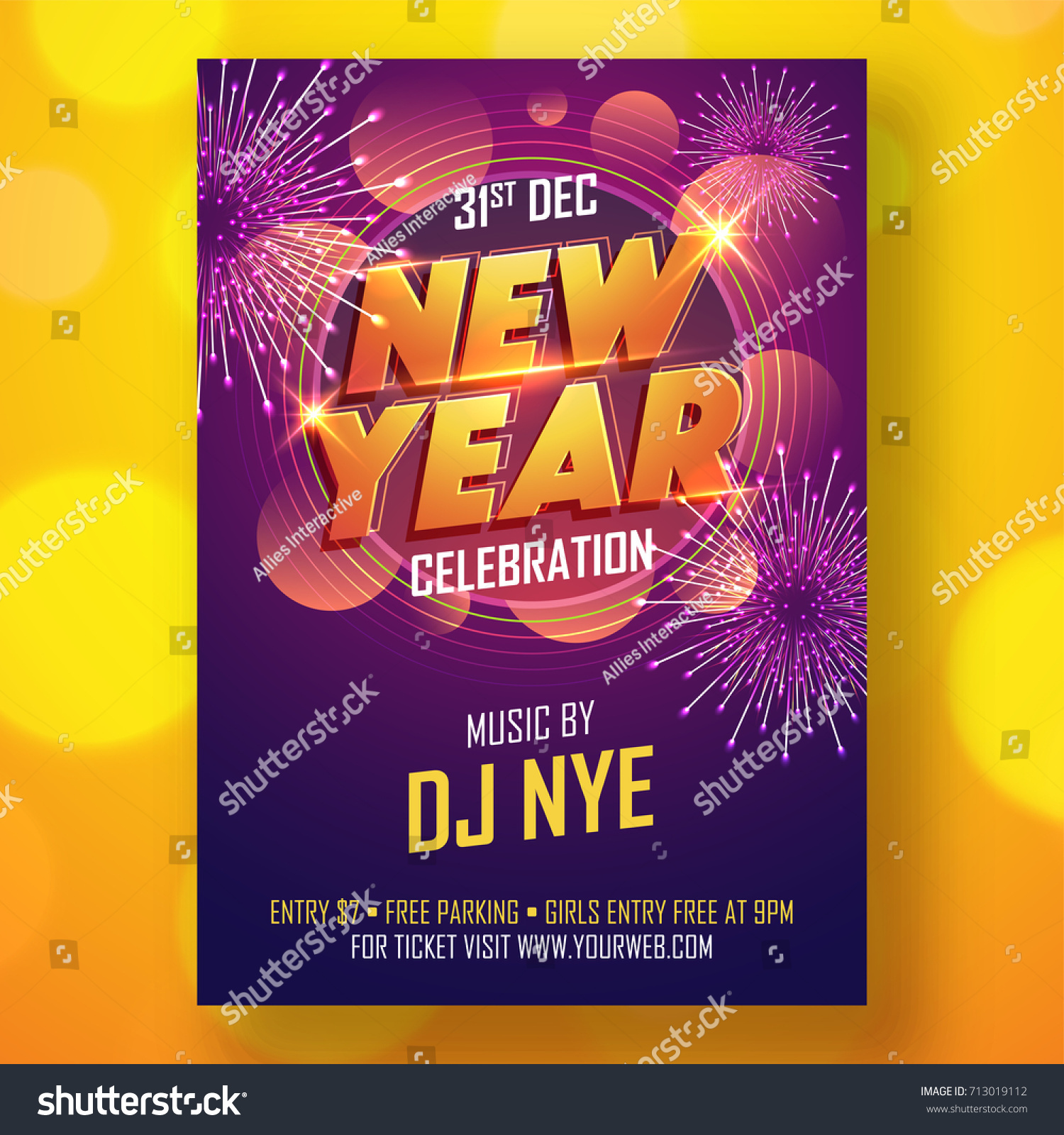 new year night party celebration flyer design on yellow background