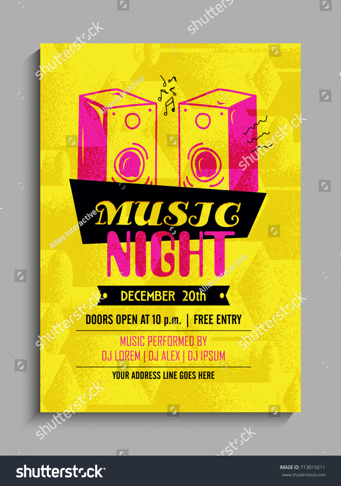 music party template party flyer party stock vector 713019211, Presentation templates