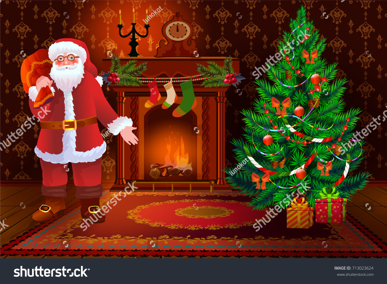 christmas living room interior xmas tree stock vector 713023624