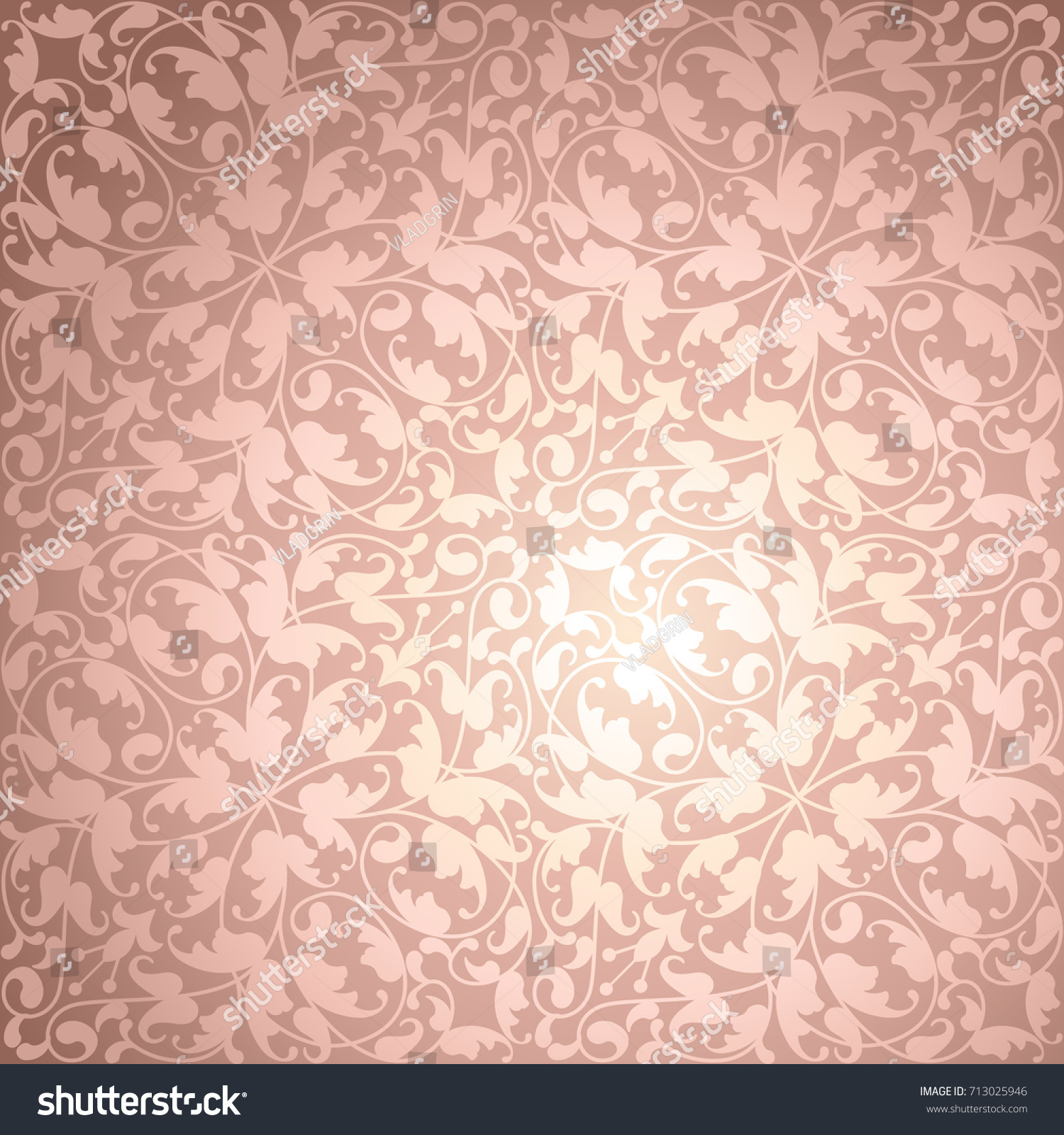 Rose Gold Vector Wallpaper Backgroundfloral Texture Stock Vector