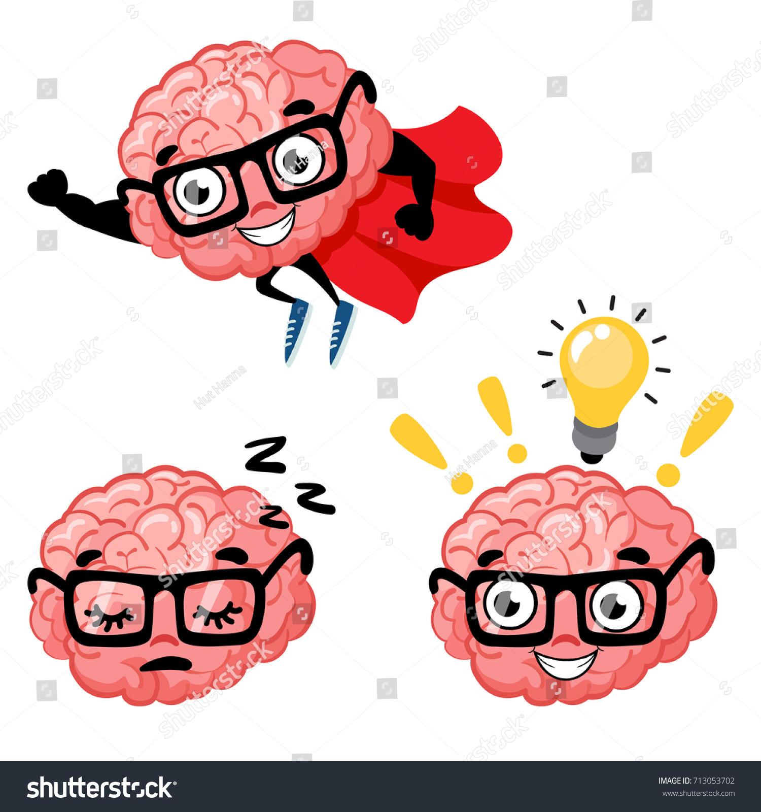 Set Cute Cartoon Smart Brains Cartoon Stock Vector 713053702 ... for Smart Cartoon Brain  146hul