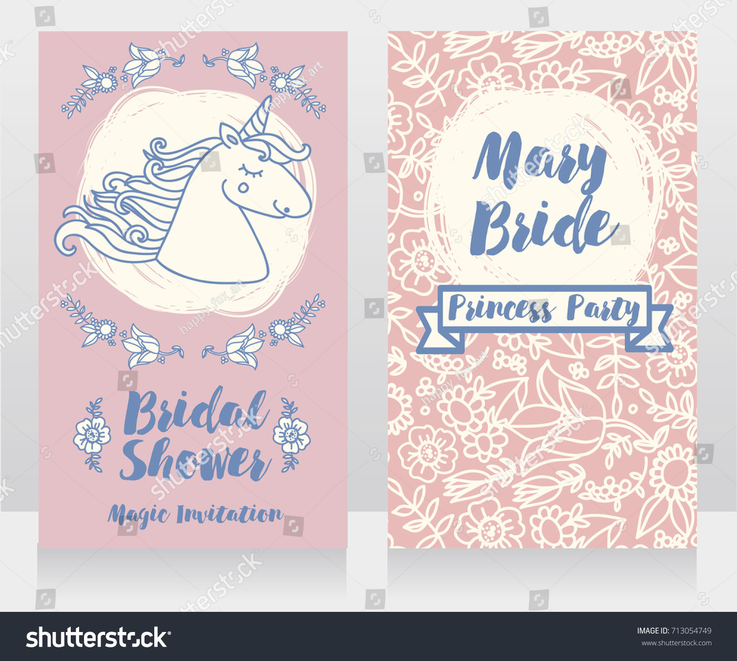 a2175ac4c5a1 Banners Bridal Shower Cute Unicorn Floral Stock Vector (Royalty Free ...