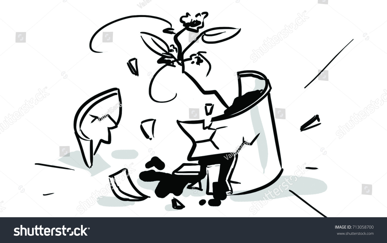 Broken Flower Pot Black White Sketch Stock Vector Royalty Free