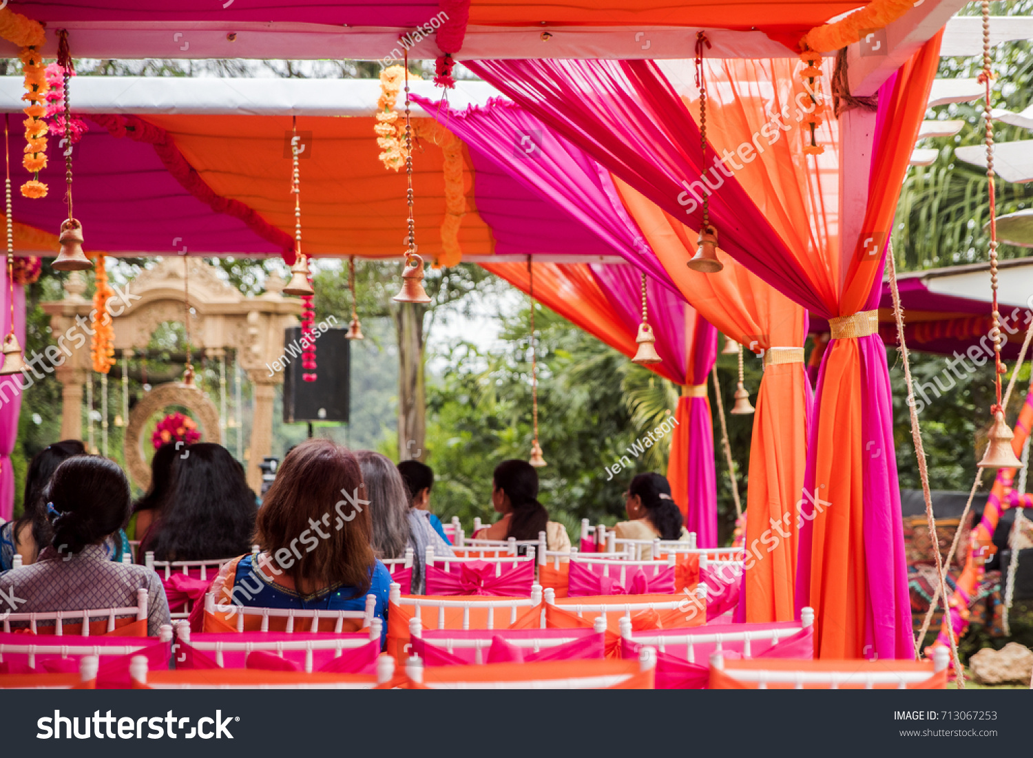 Few Guests Seated Under Colorful Outdoor Stock Photo Edit Now 713067253
