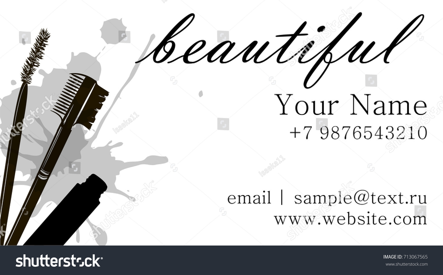 Makeup Artist Business Card Vector Template With Items Eyelash Brush Eyebrow
