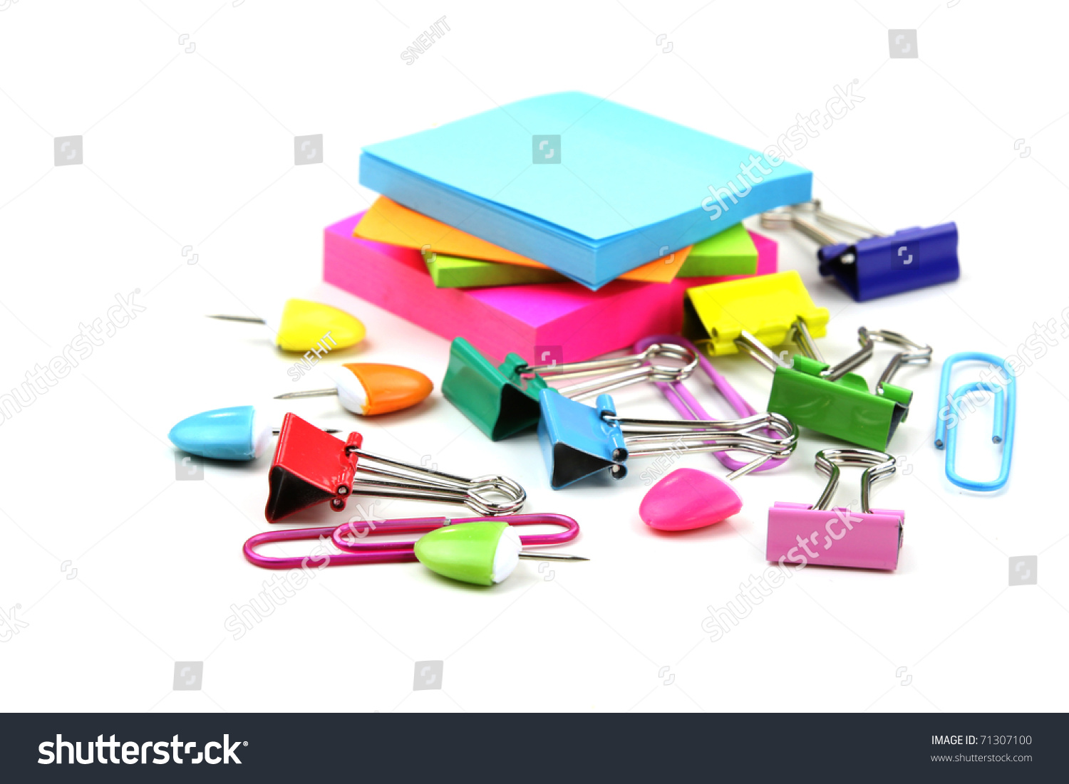 Colorful Office Supplies On White Background Stock Photo
