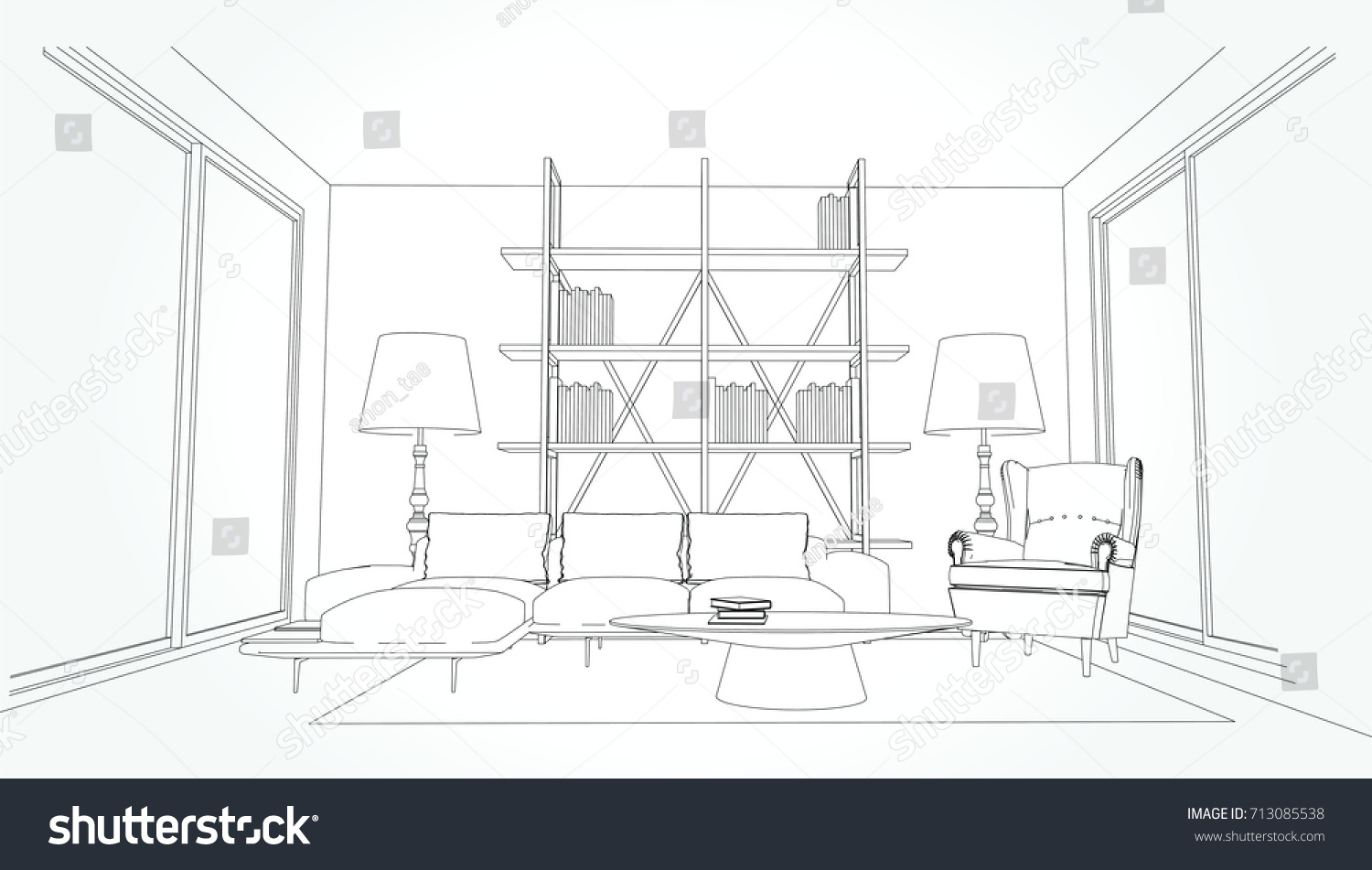 The Line Art And Living : Linear sketch interior living room plan stock vector hd royalty