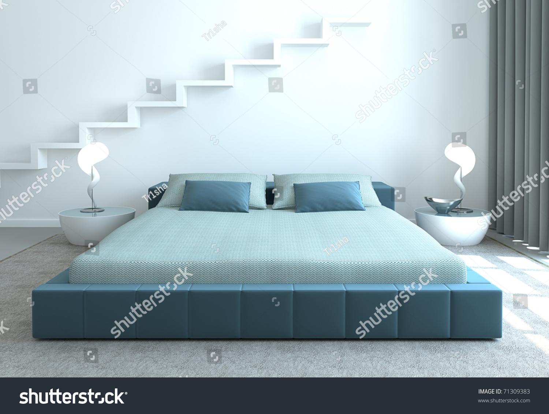 Modern Bedroom Interior Modern Bedroom Interior 3d Render Stock Photo 71309383