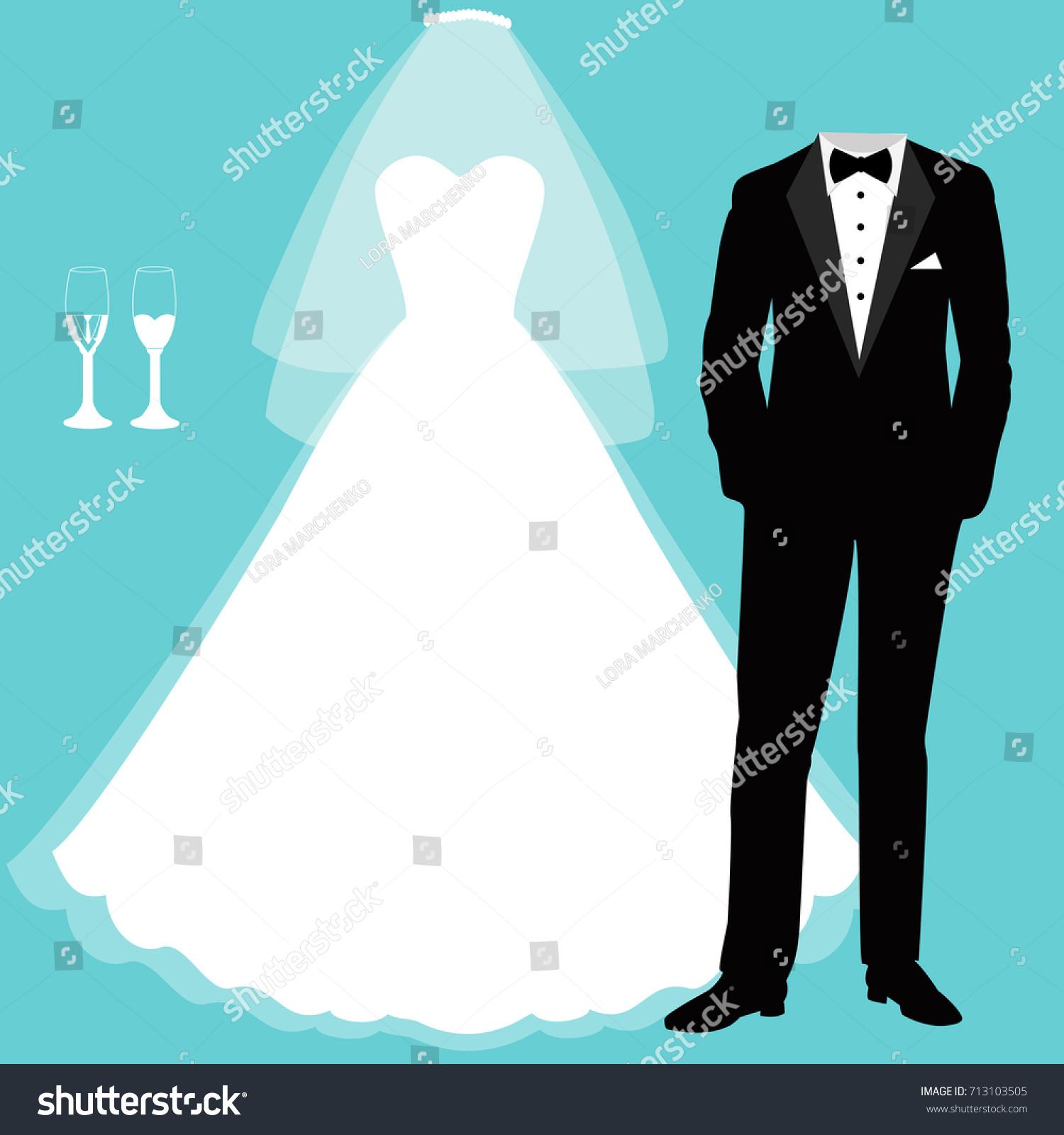 Wedding Card Clothes Bride Groom Beautiful Stock Vector 713103505 ...