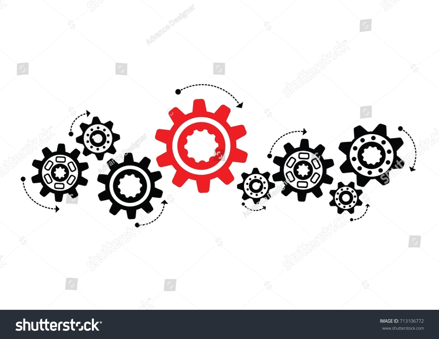 Black Gears Cooperation Teamwork Symbolism Red Stock Vector Royalty