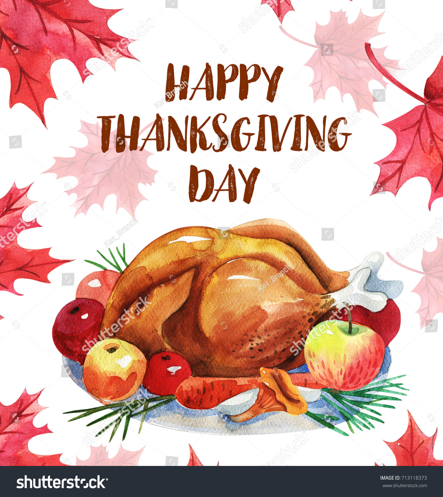 Happy Thanksgiving Greeting Card Turkey Lettering Canadian Stock