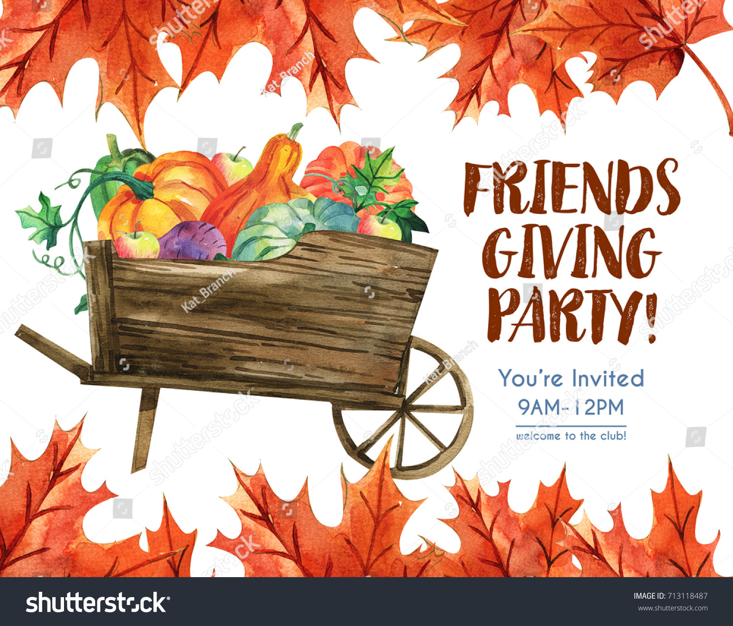 happy thanksgiving greeting card with turkey and lettering friends giving a party