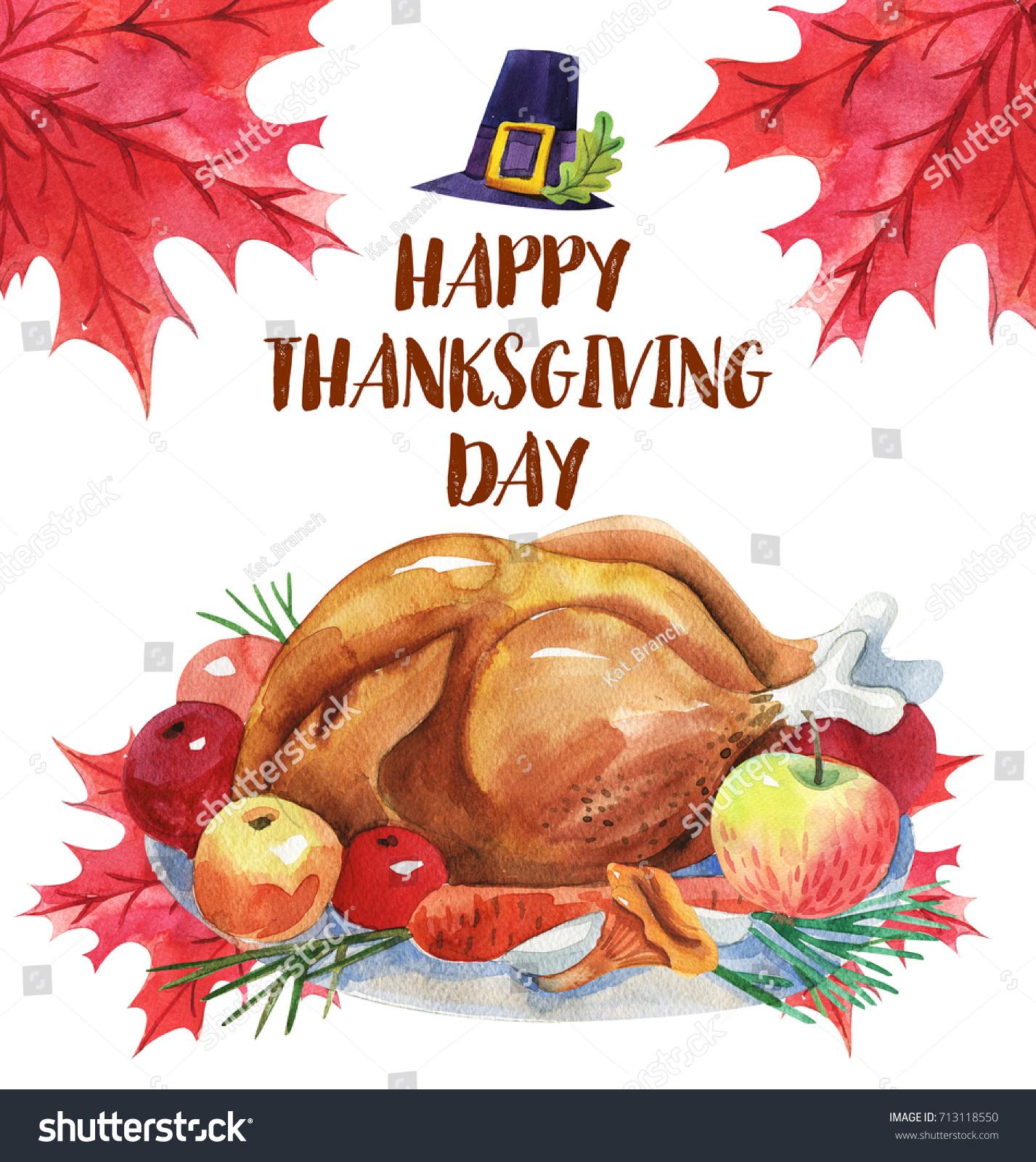 Happy Thanksgiving Greeting Card Turkey Lettering Stock Illustration