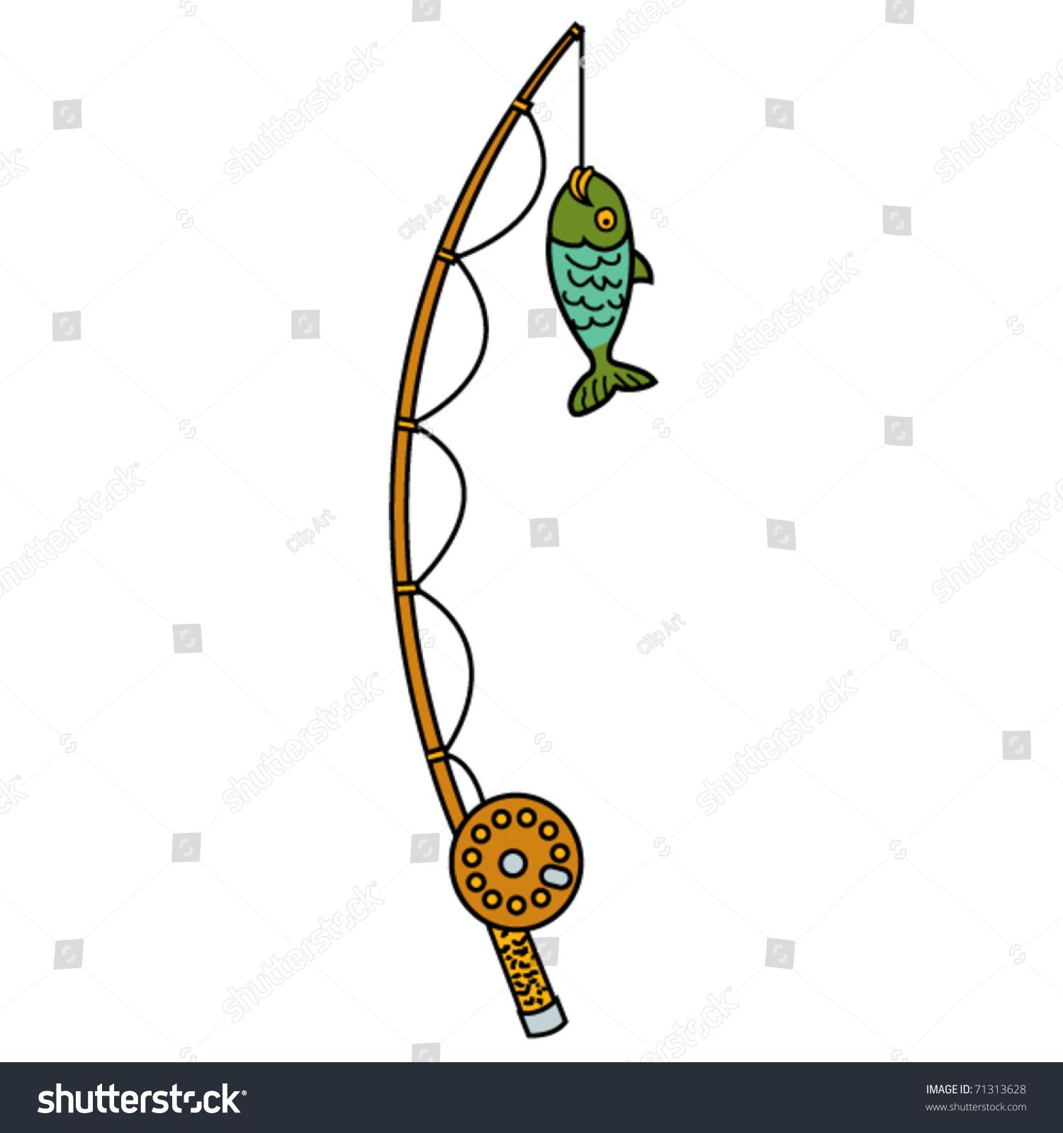 fishing pole reel fish stock vector 71313628 - shutterstock, Fishing Rod