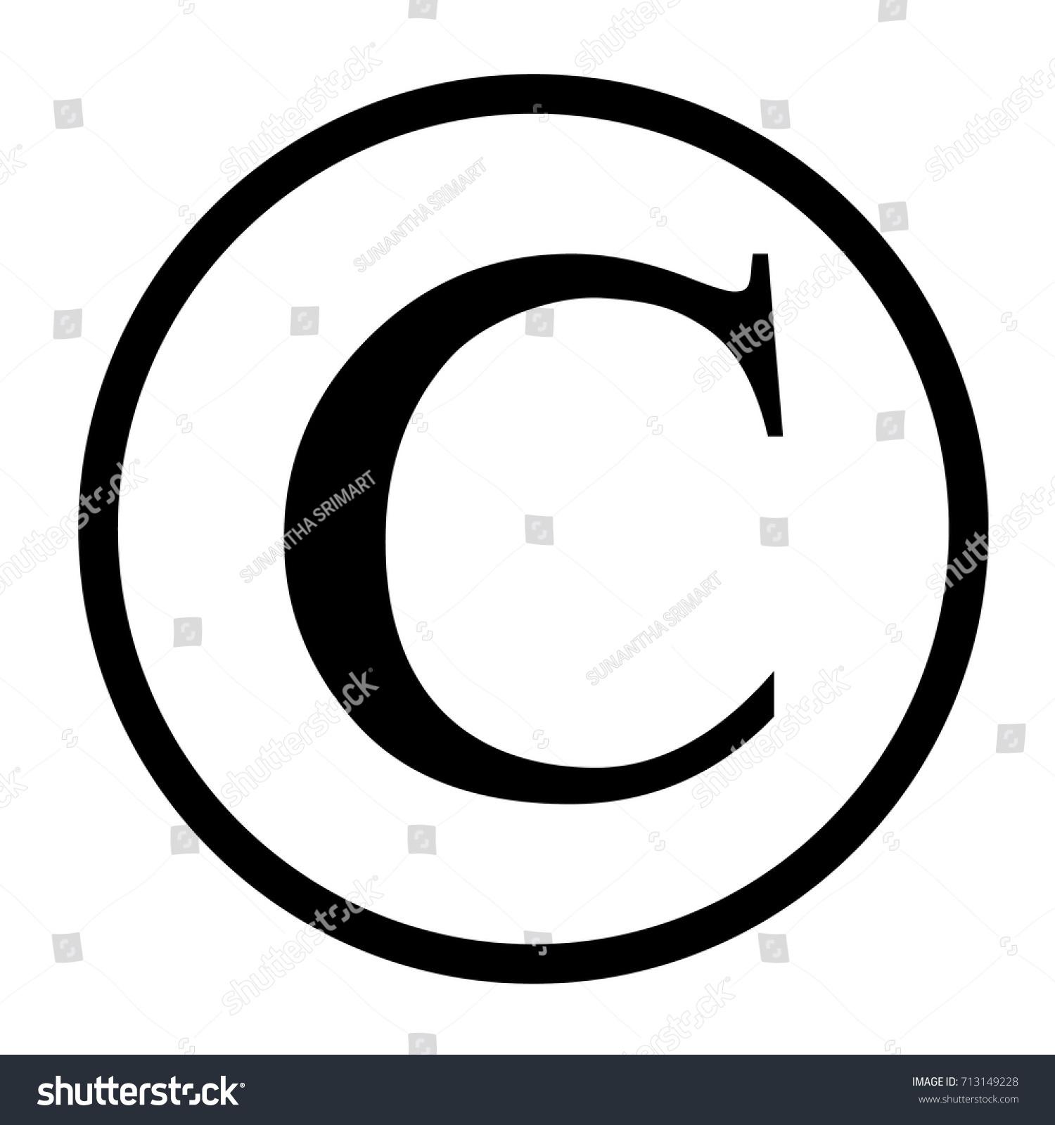 Copyright Symbol Flat Design On White Stock Vector 713149228