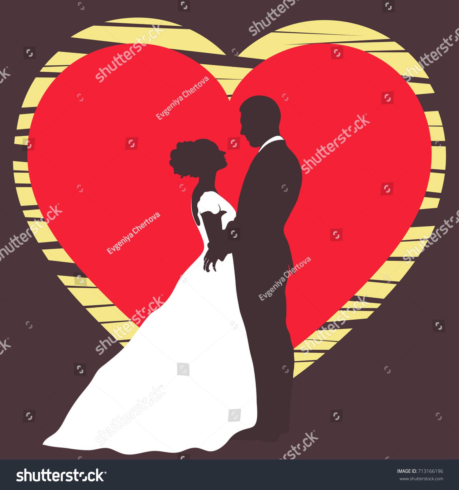 Bride Groom Silhouette Wedding Invitation Card Stock Vector (Royalty ...