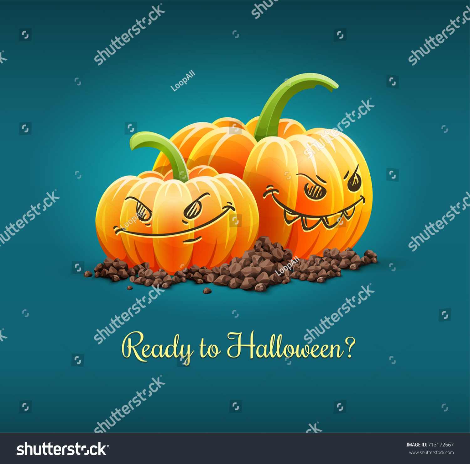 Angry Pumpkins Angry Grimace Faces Halloween Stock Vector ...