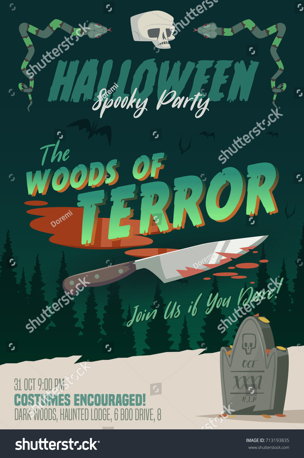 Scary Halloween Party Invitationcardbackground Vector Illustration – Scary or Horror Invitation Cards