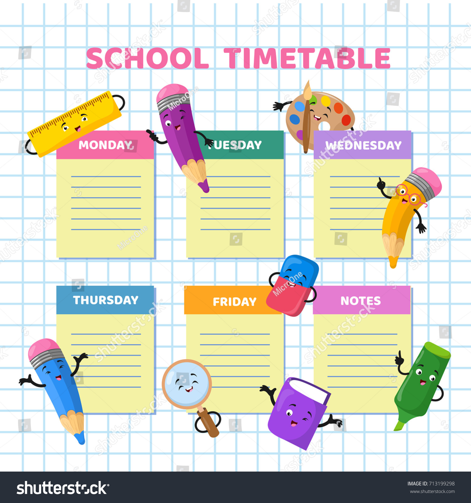 School Timetable Funny Cartoon Stationery Characters Stock Vector