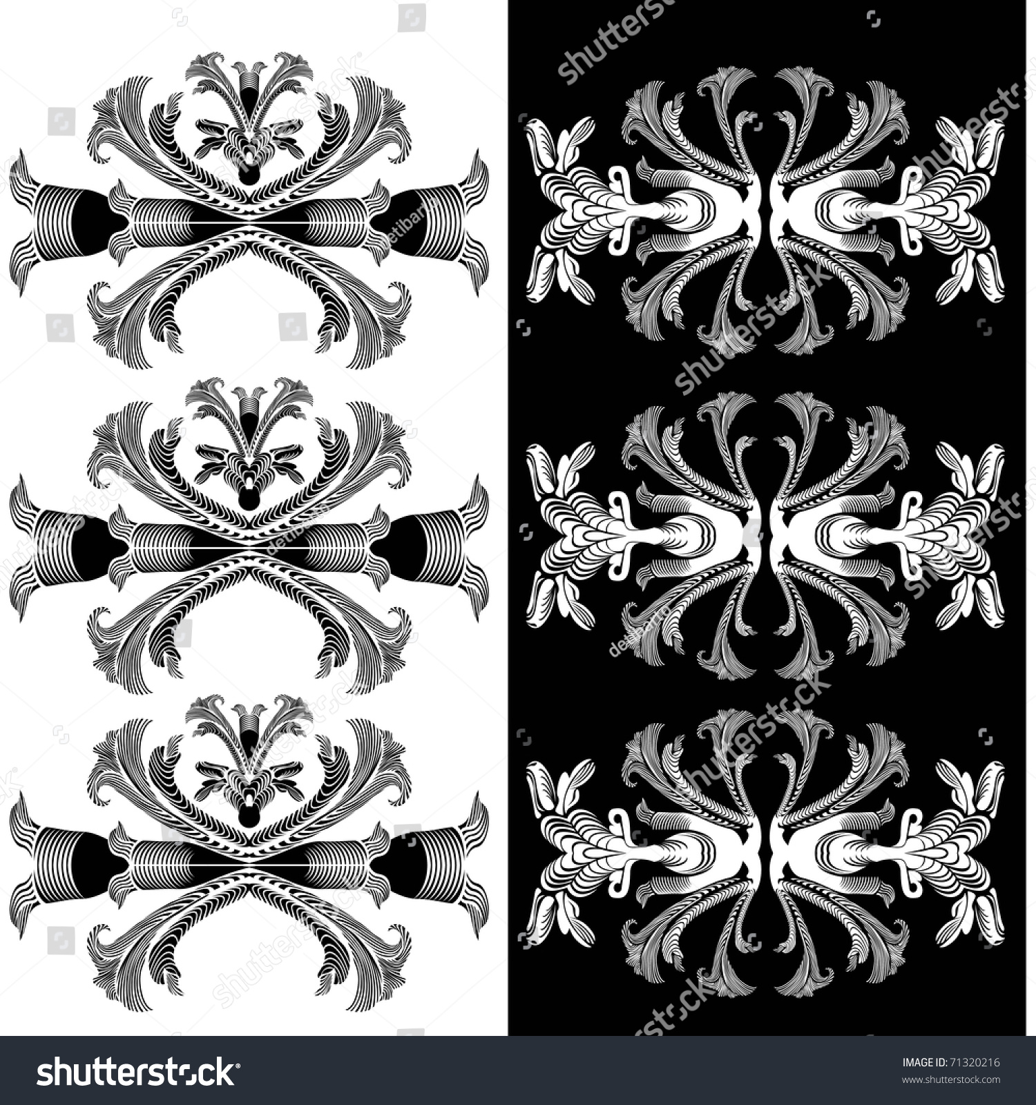 Vector Illustration Pattern Rococo Baroque Styles Stock