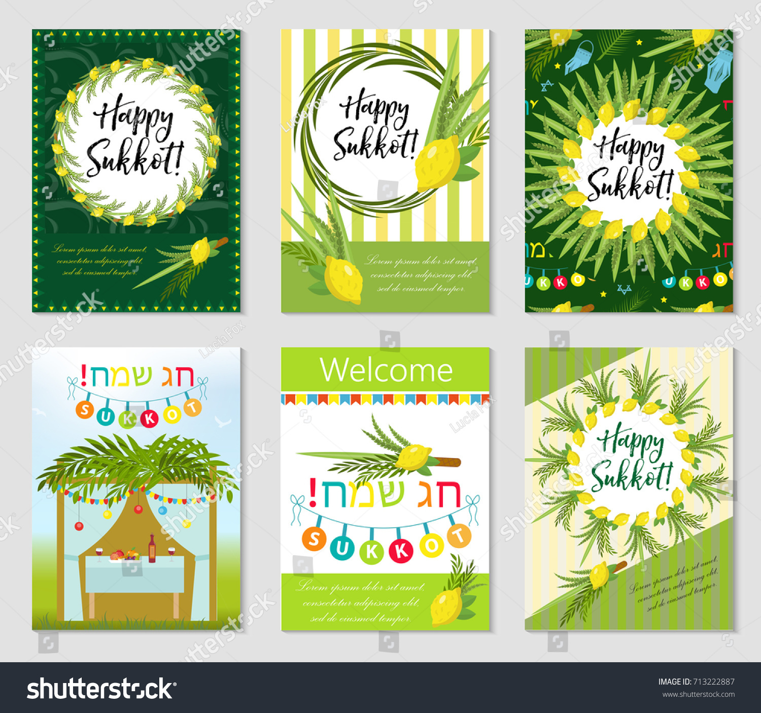 Happy Sukkot Set Flyers Posters Sukkot Stock Vector Royalty Free