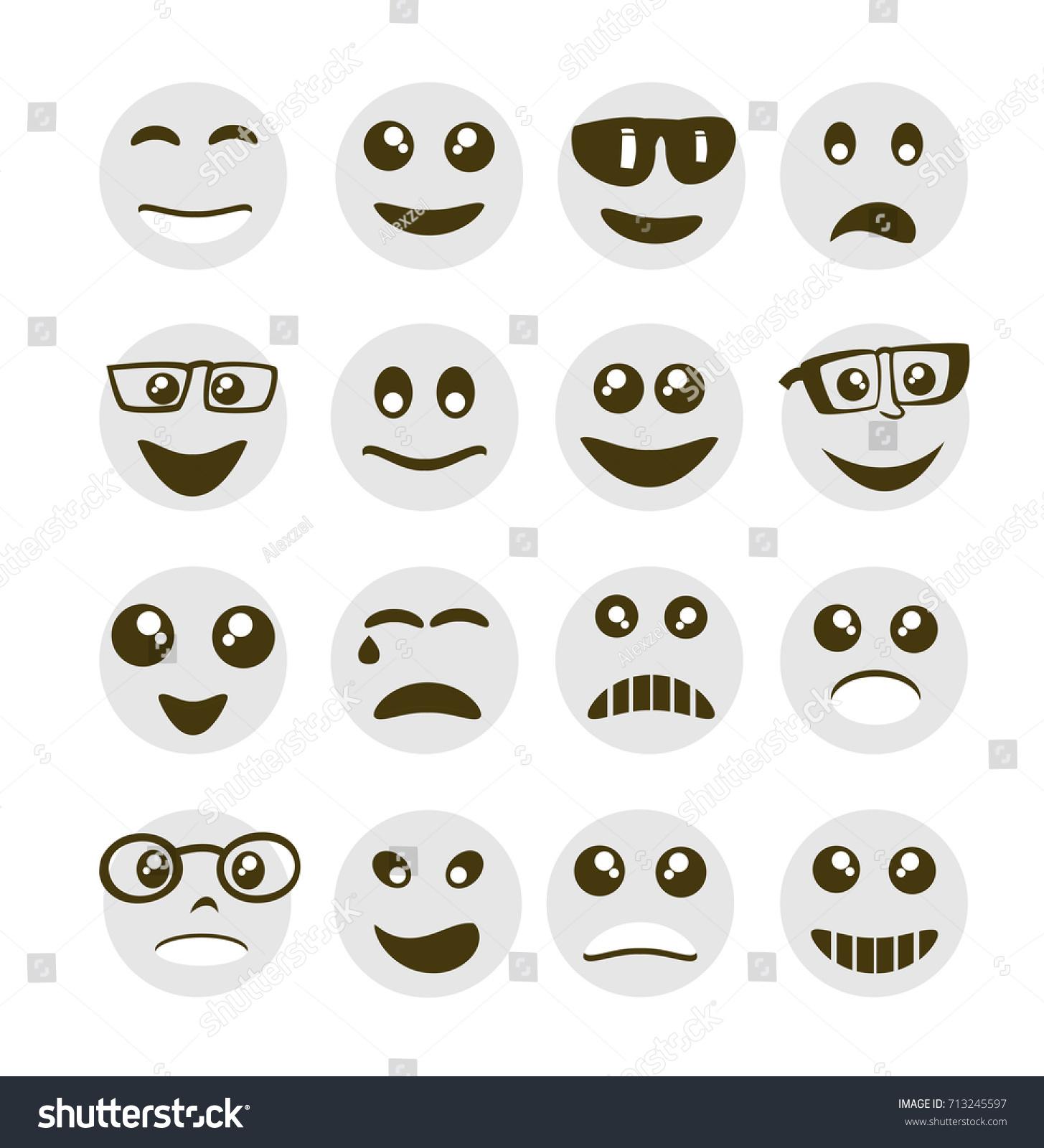 Emoji Emoticon Expression Icons Style Circle Stock Vector Royalty