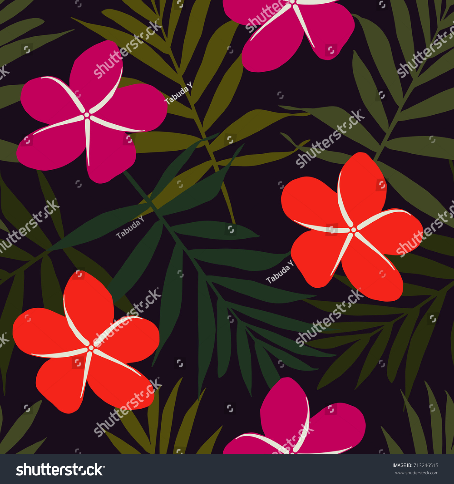 Seamless Tropical Floral Pattern Vector Palm Stock Vector 713246515 ...