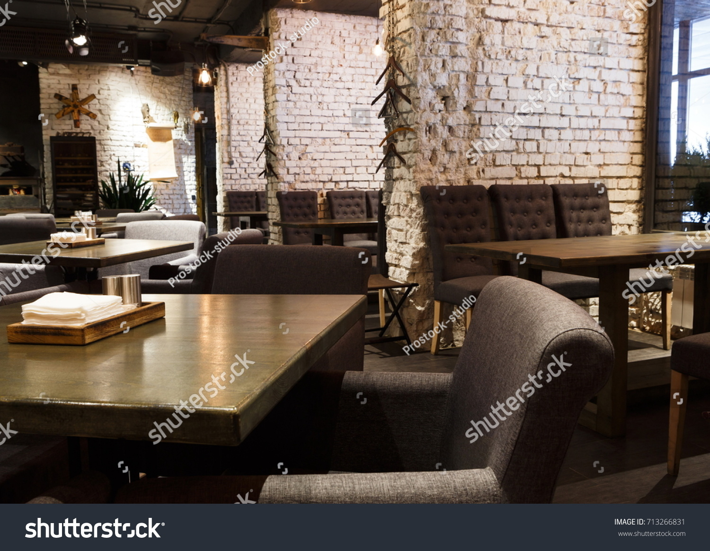 Interior Modern Restaurant Contemporary Design Loft Stock