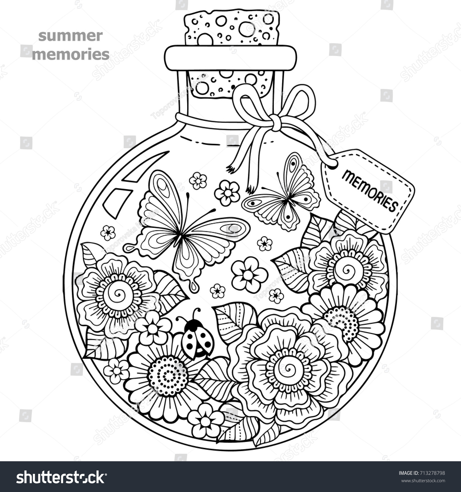 vector Coloring Book Adults Glass Stock Vector (2018) 713278798 ...