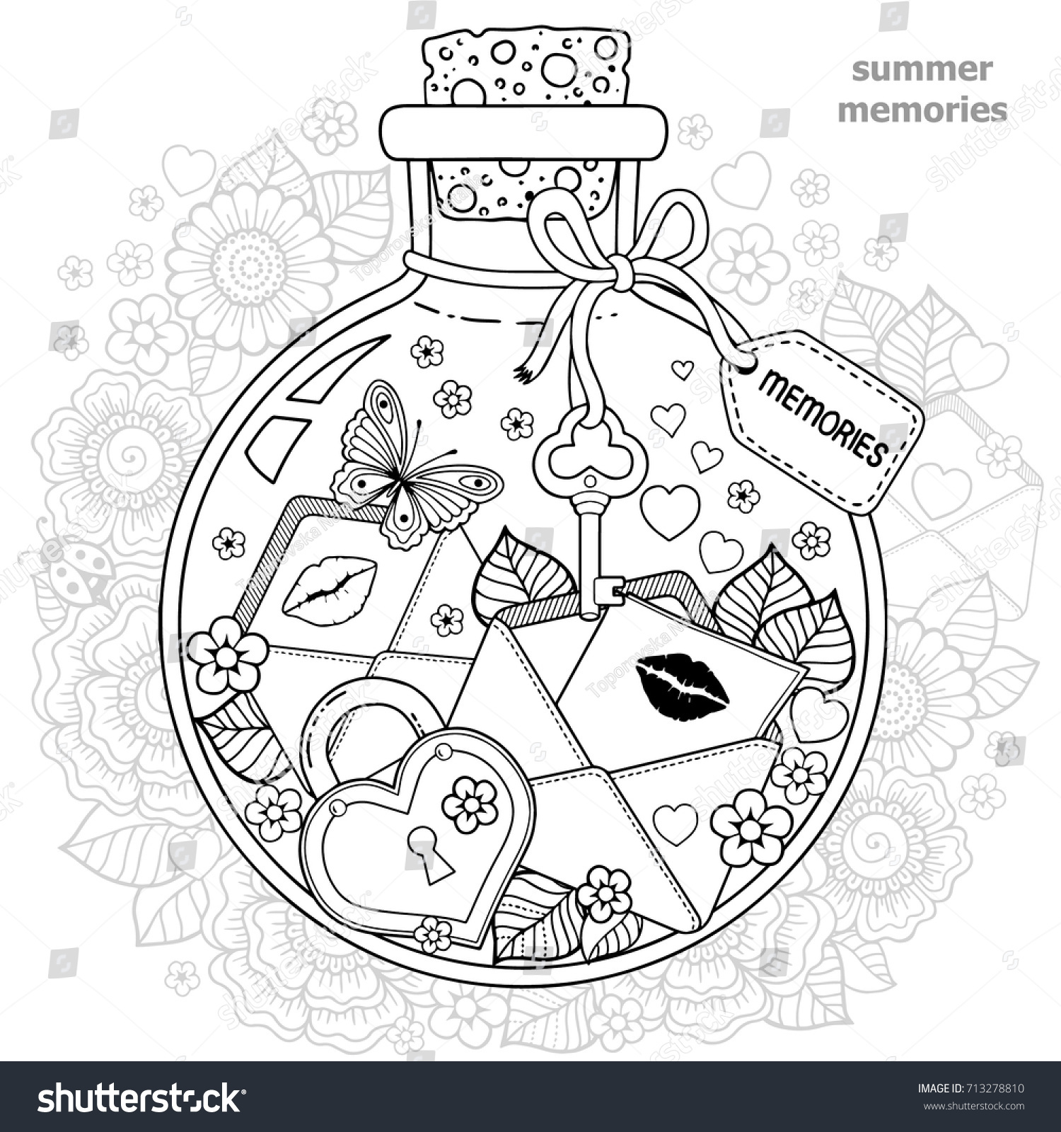 Coloring Adults vector Coloring Book Adults Glass Stock Vector ...