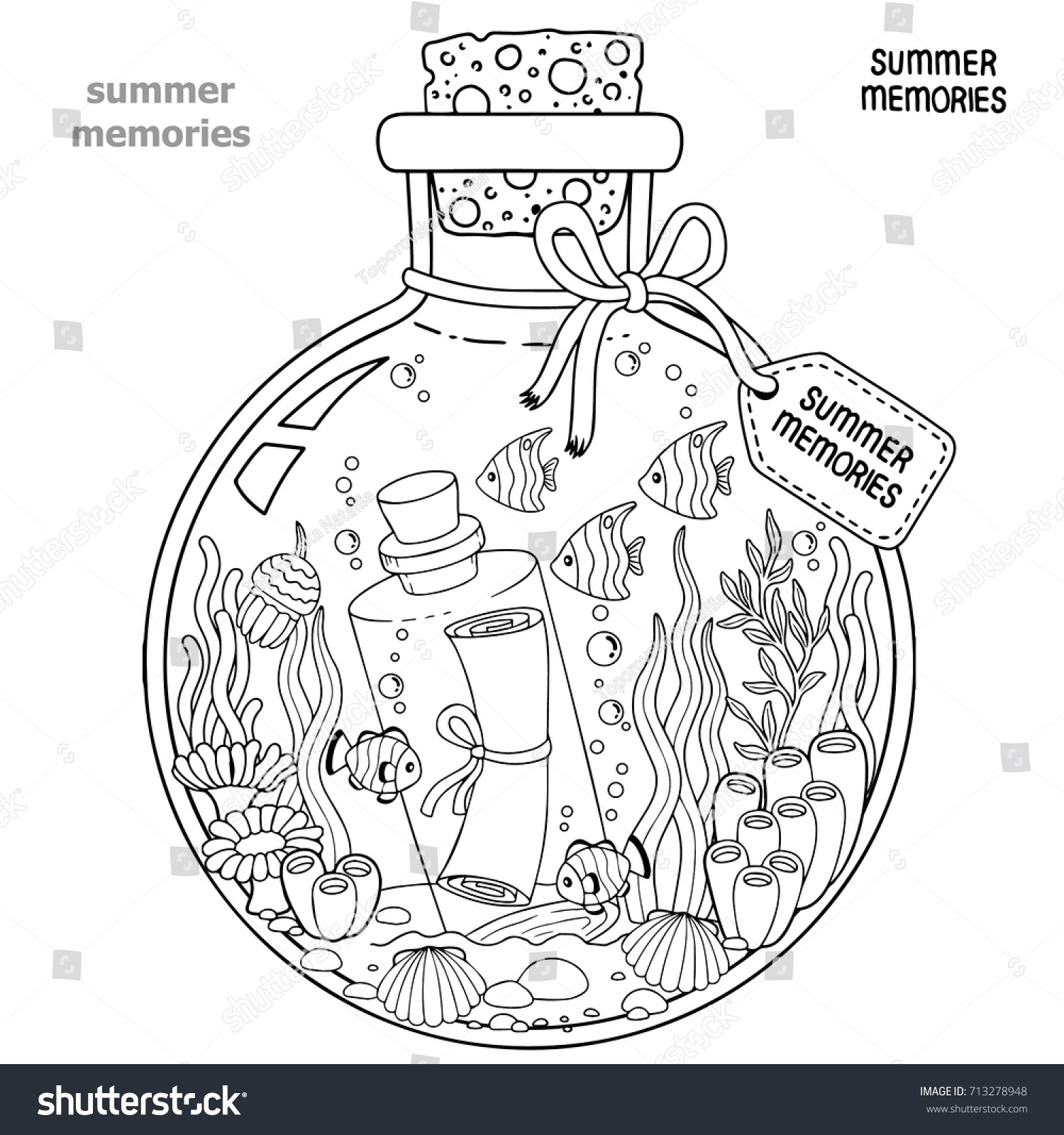 Vector Coloring Book For Adults A Glass Vessel With Memories Of Summer Bottle