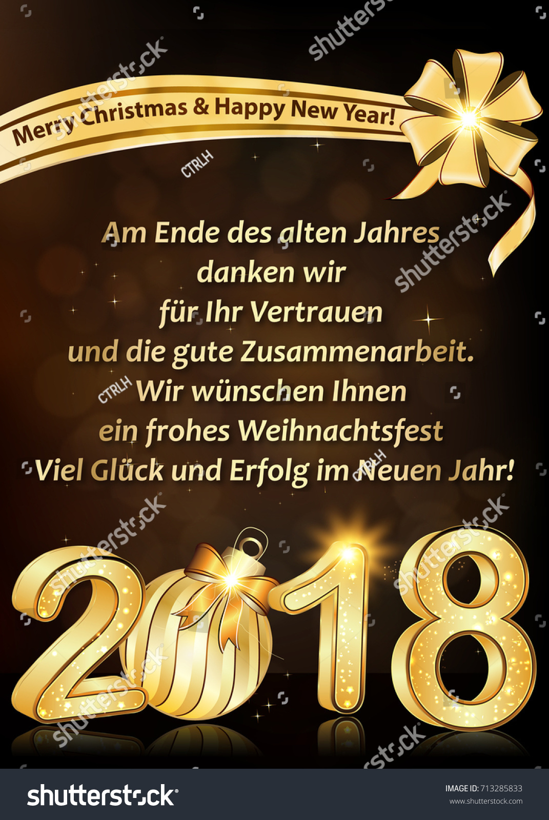 thank you business german greeting card for new year 2018 text translation at the