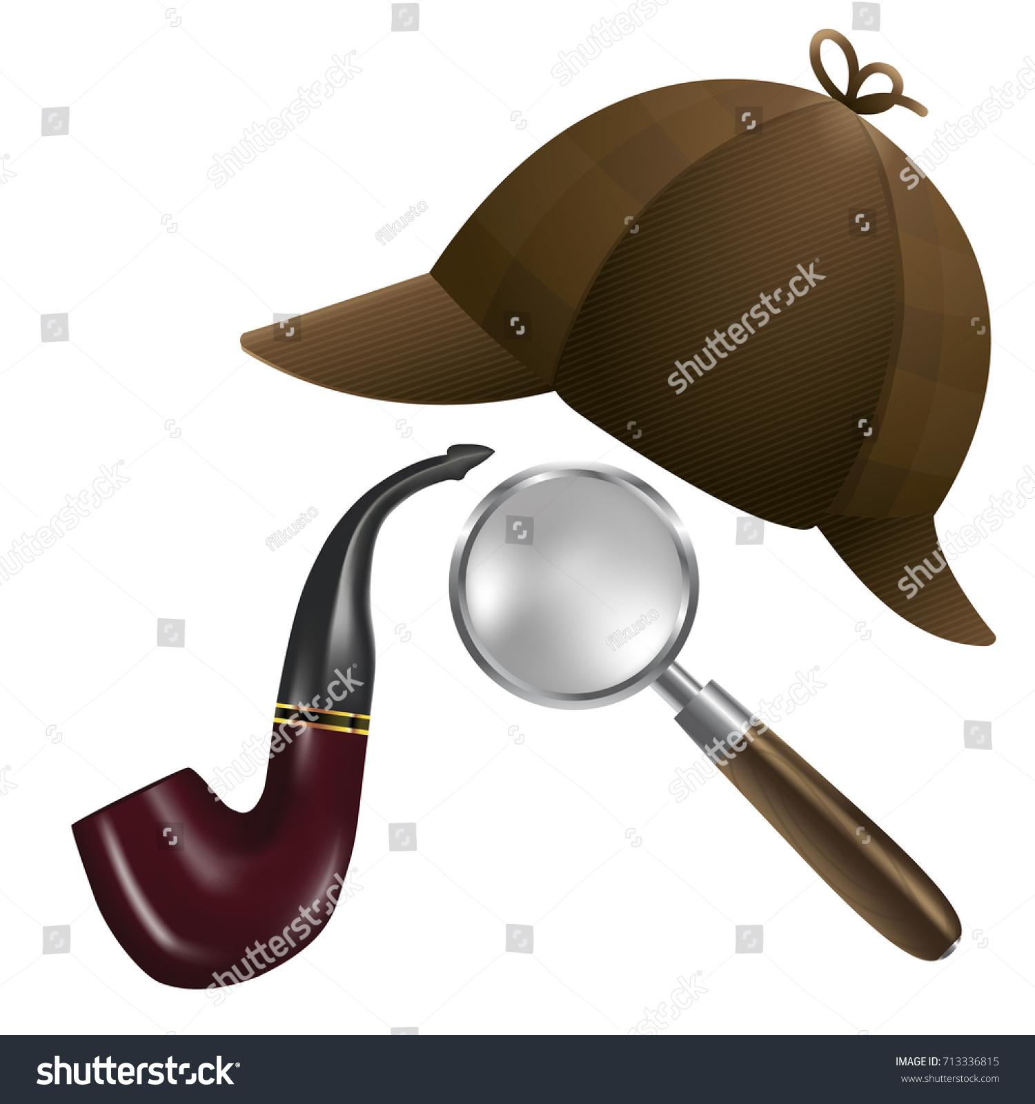 Hat Smoking Pipe Magnifier 3d Vector Stock Vector (Royalty