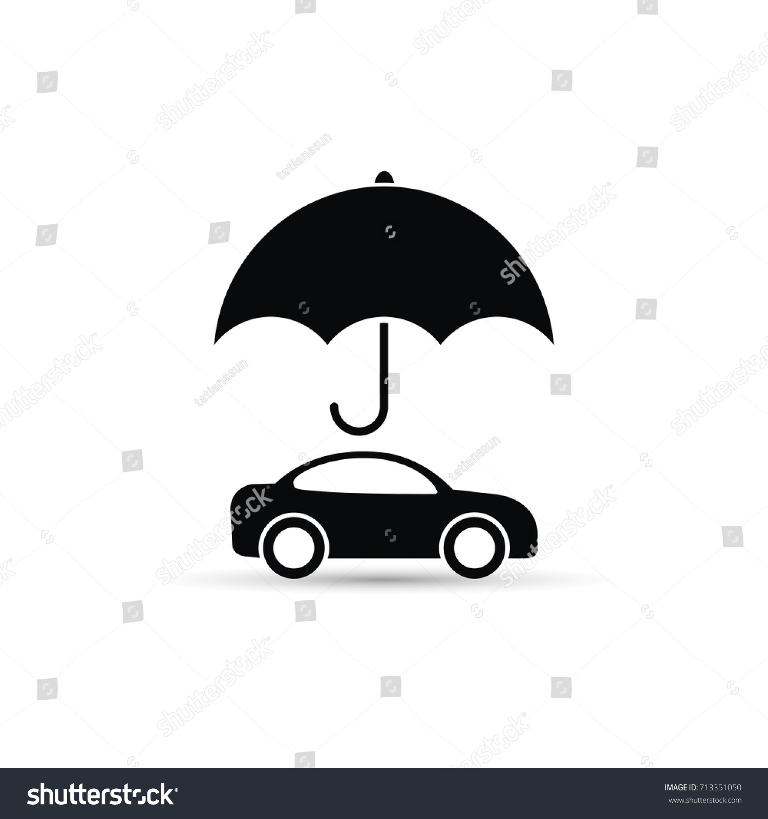 Umbrella above car icon, vector car protect illustration.
