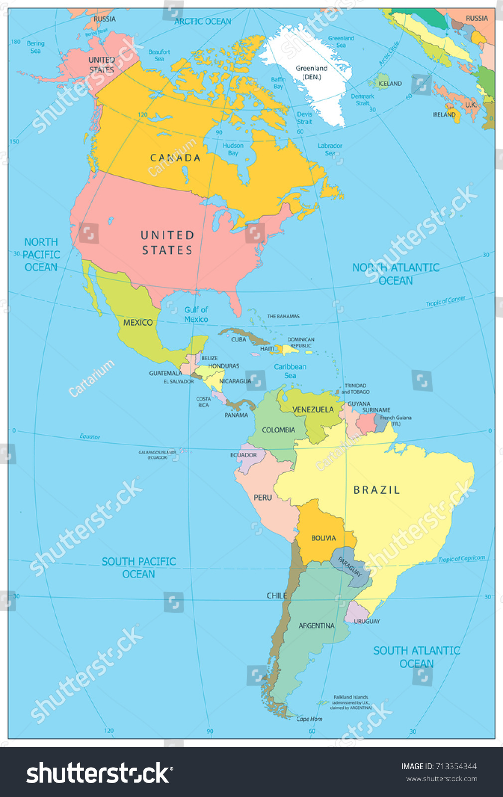 North South America Political Map Vector Stock Vector (Royalty
