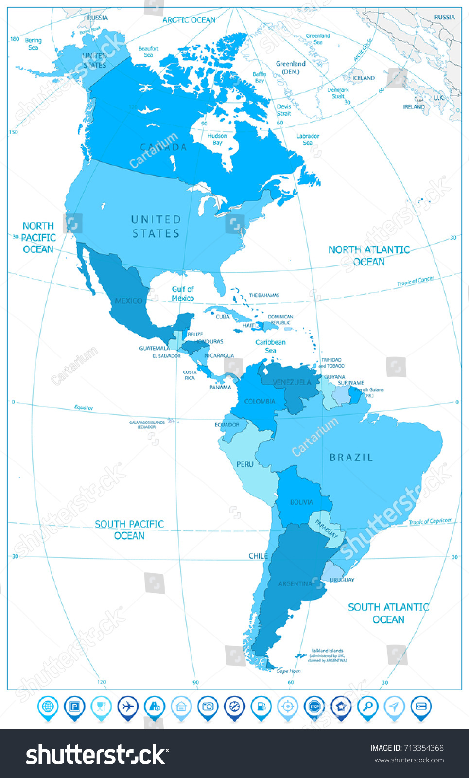 North south america map map markers stock vector 713354368 north and south america map with map markers in colors of blue vector illustration sciox Gallery