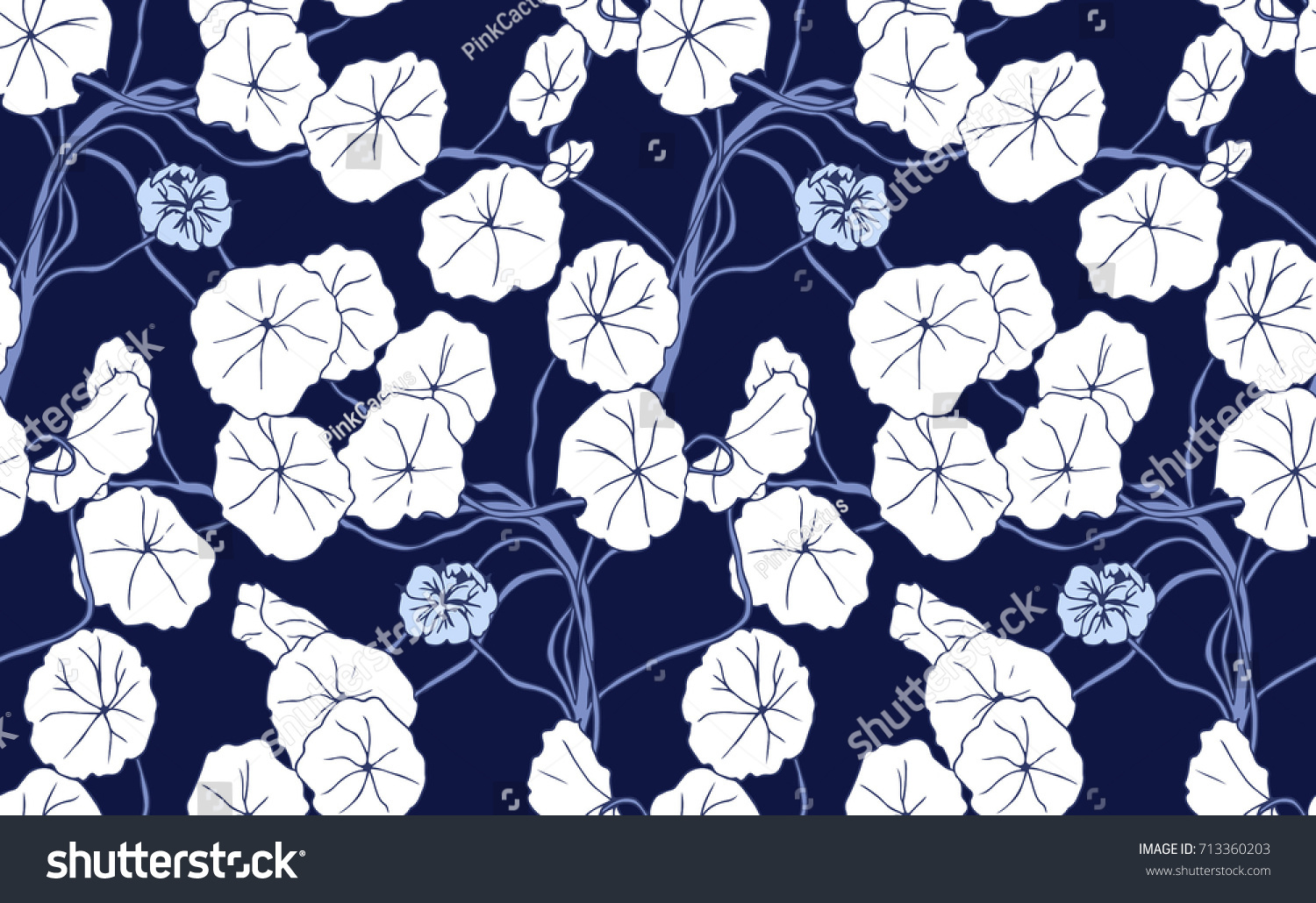 Navy Blue White Floral Background Design Stock Vector Royalty