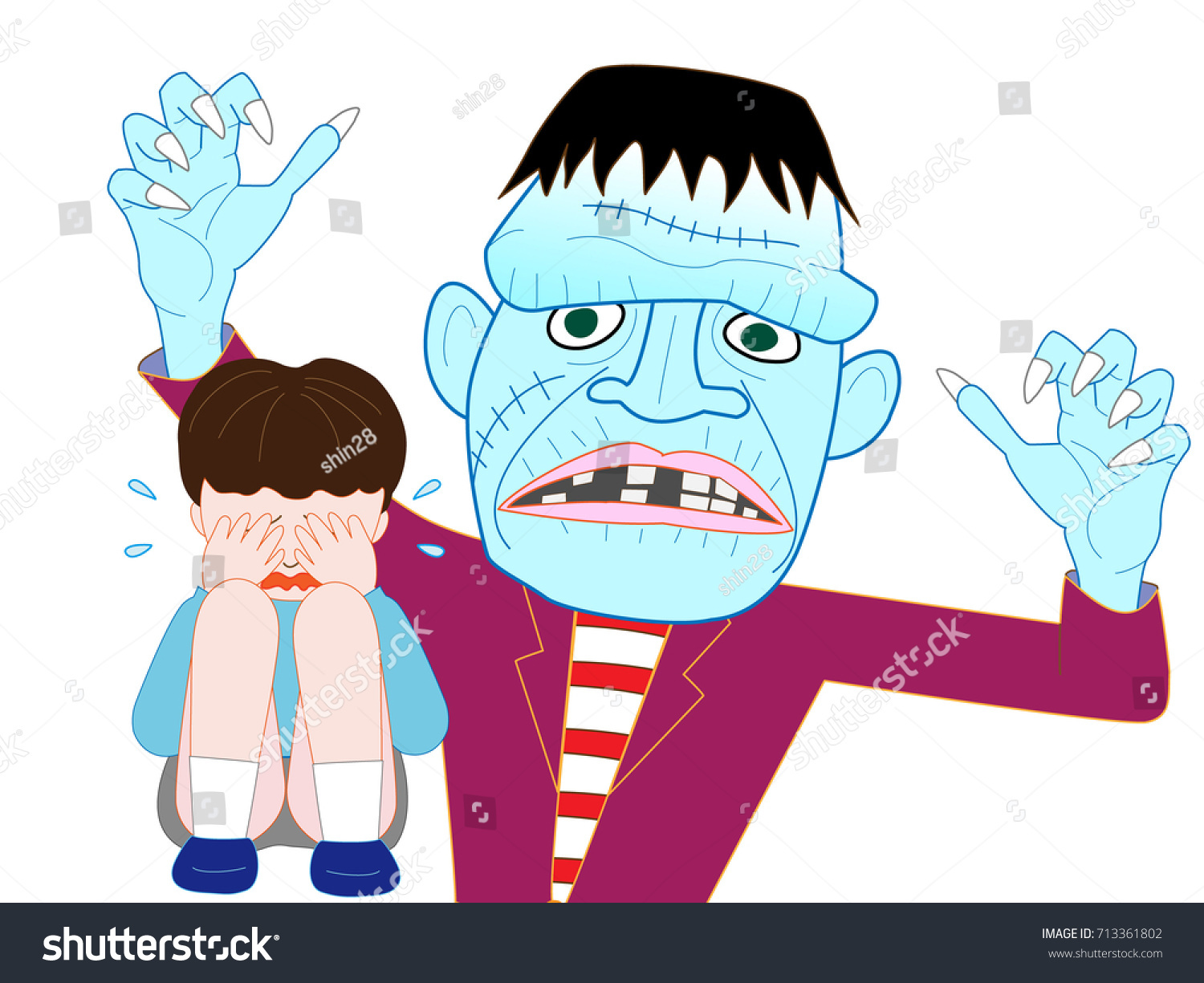 Child Crying Fear Frankenstein On Day Stock Vector 713361802 ...