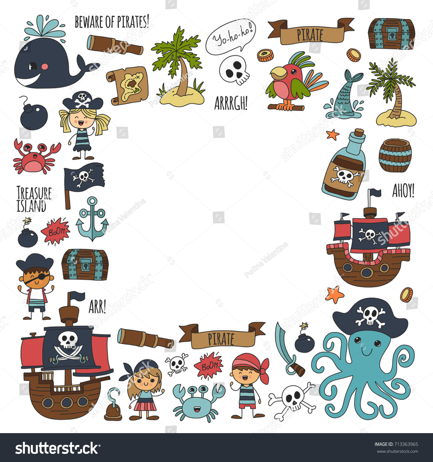 vector seamless pattern pirate party children stock vector