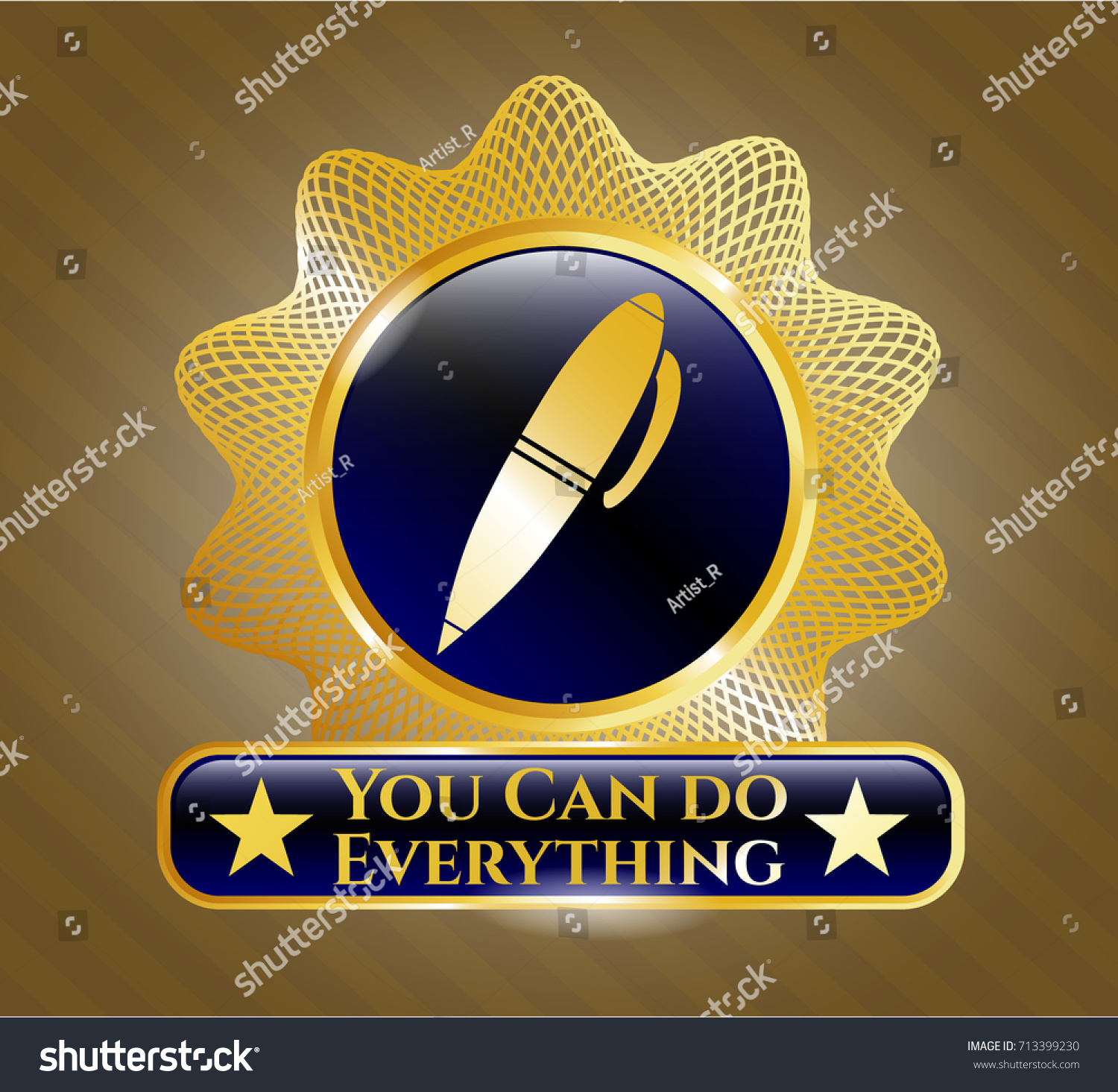 Gold badge emblem pen icon you stock vector 713399230 shutterstock biocorpaavc Choice Image