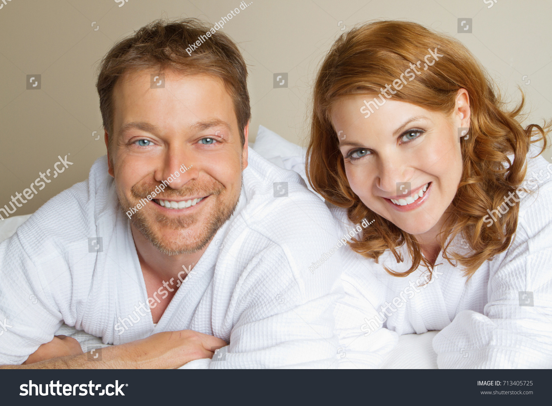 Cute Couple Bath Robes Stock Photo Edit Now 713405725