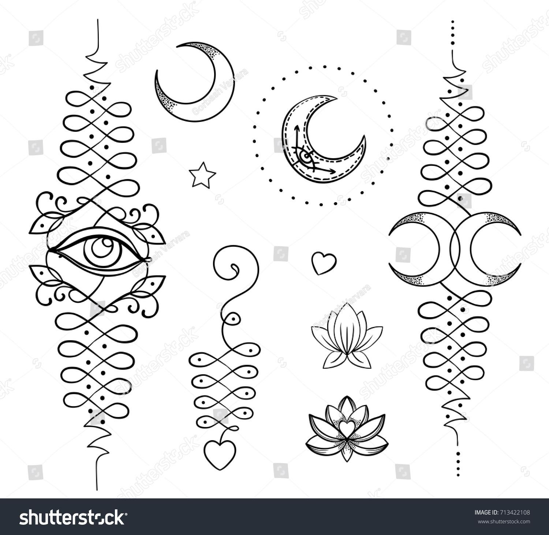 Lotus sacred geometry unamole hindu symbol stock vector 713422108 unamole hindu symbol of wisdom and path to perfection set buycottarizona